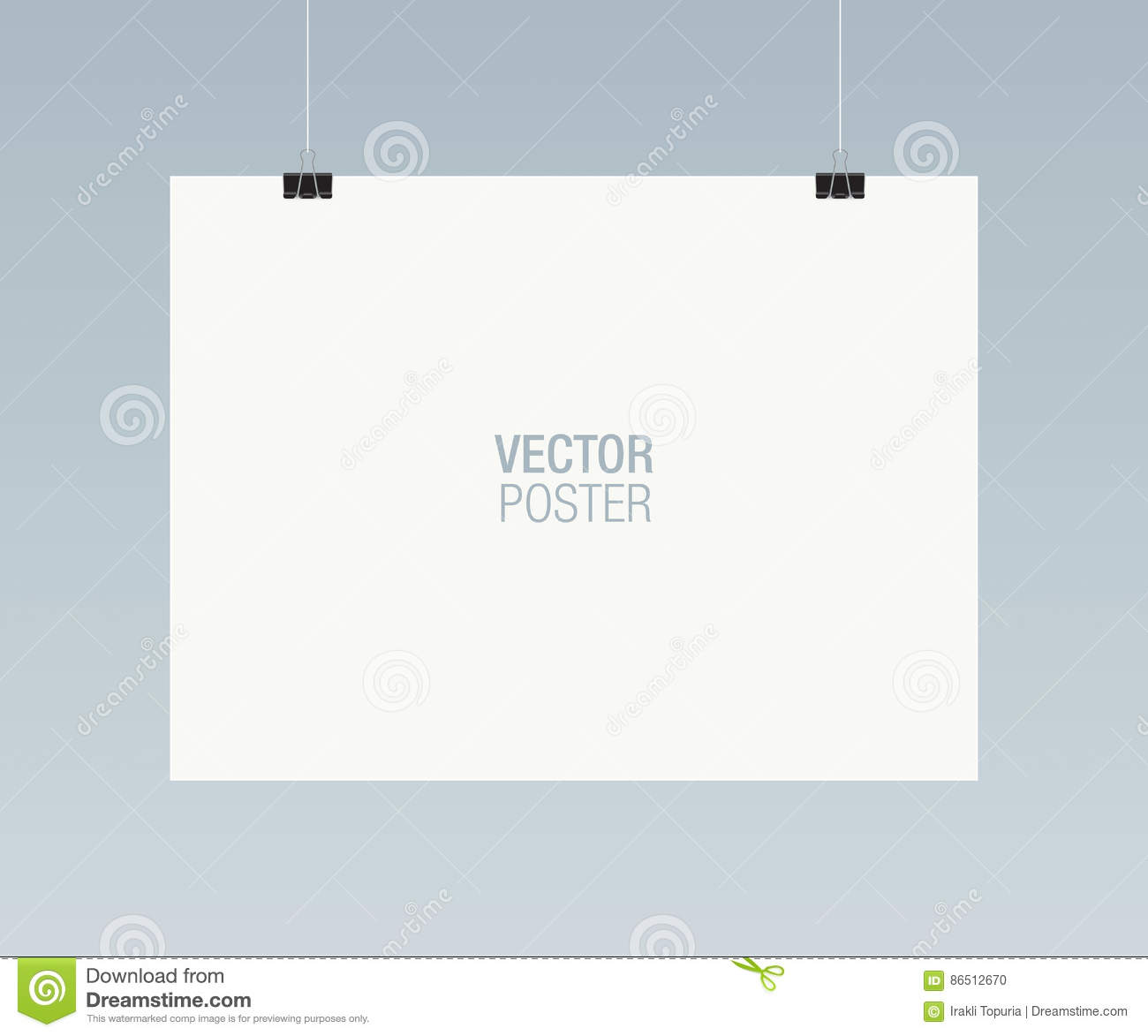 Poster Hanging On Clips Vector Template Stock Vector