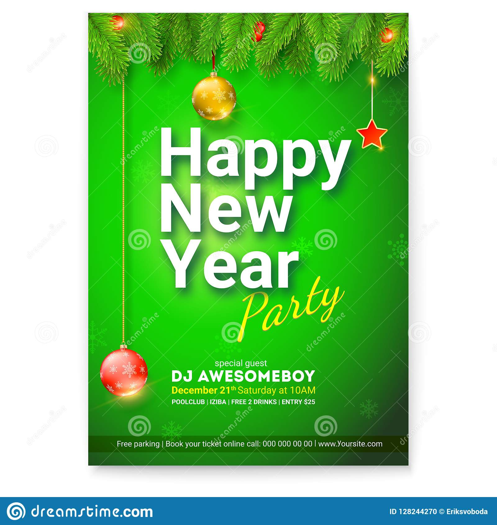 poster of happy new year greetings card with design of welcome text and branches of