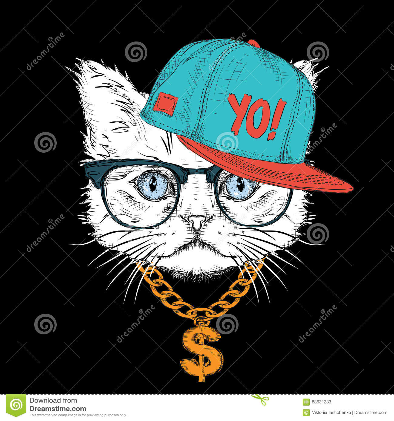 The Poster With The Image Cat Portrait In Hip Hop Hat Vector