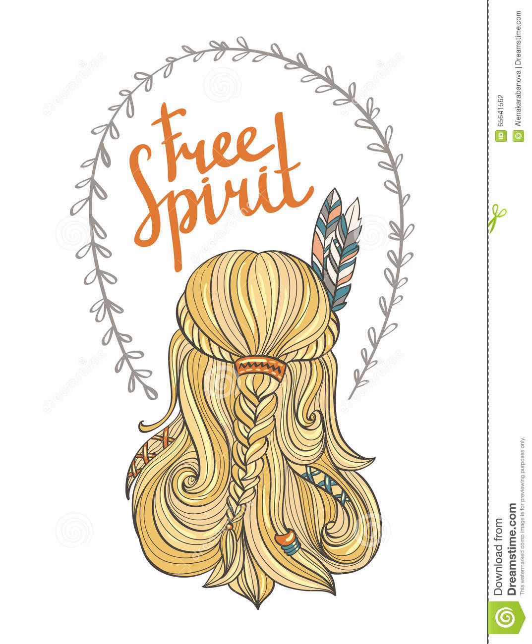 Boho Indian Girl In Feather Wreath In Hand Drawn Style ...