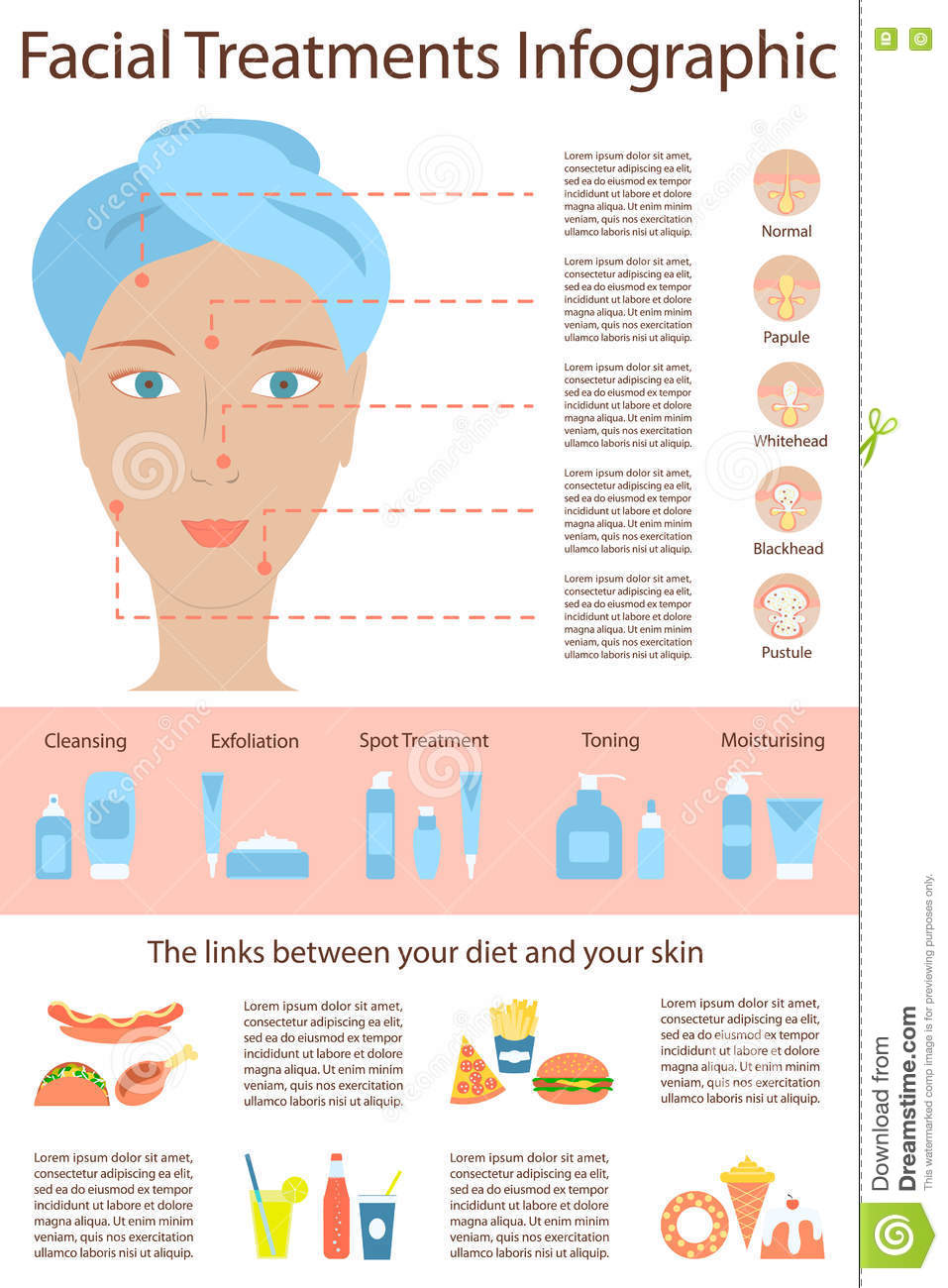 Poster Infographics Of Skin Problems Stock Vector