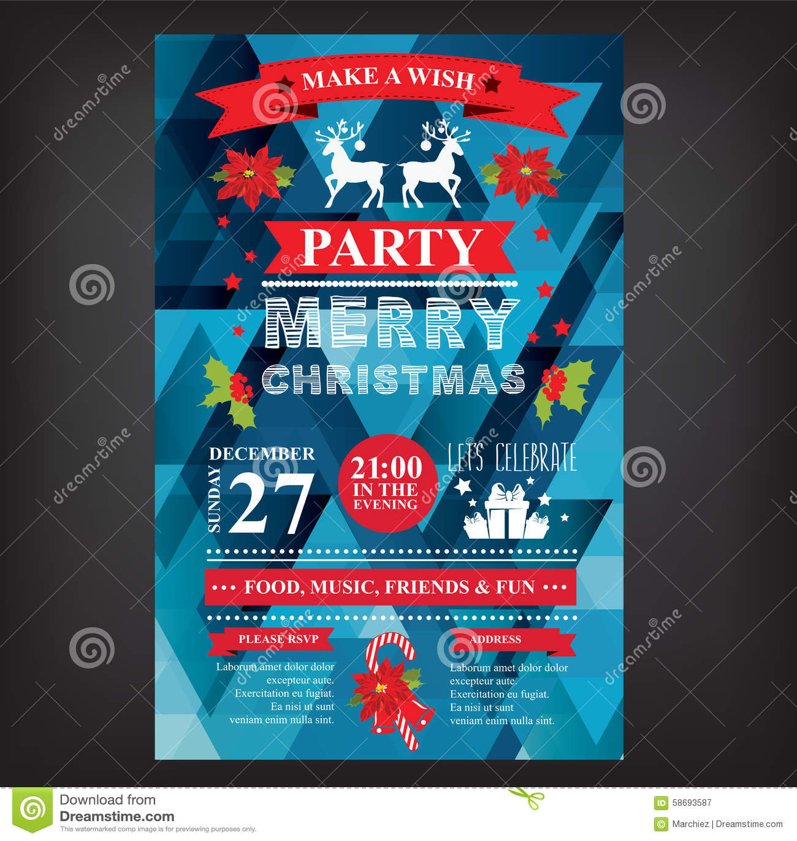 poster invitation merry christmas stock vector illustration of