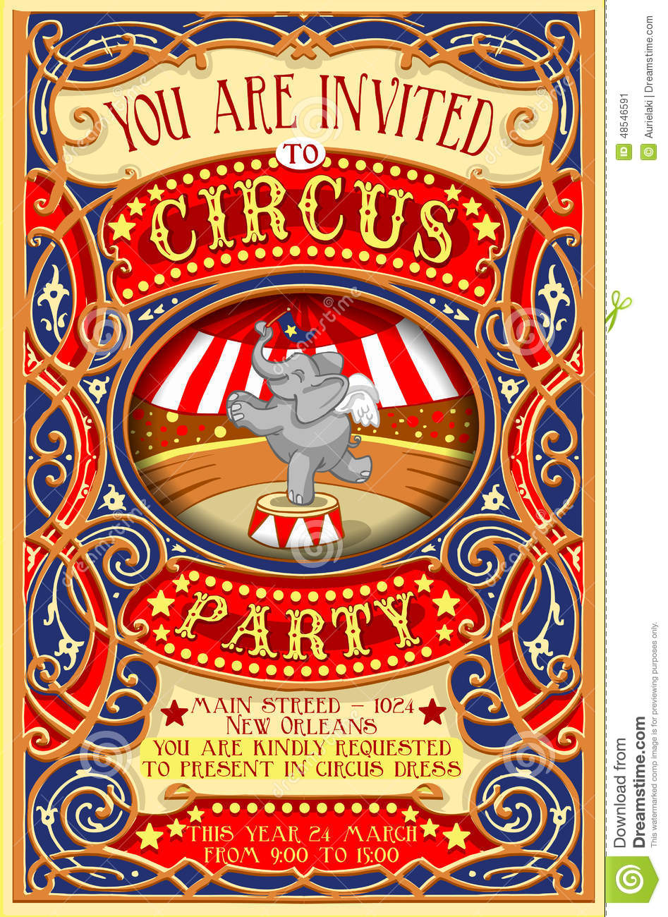 Poster Invite For Circus Party With Elephnant Stock Vector ...