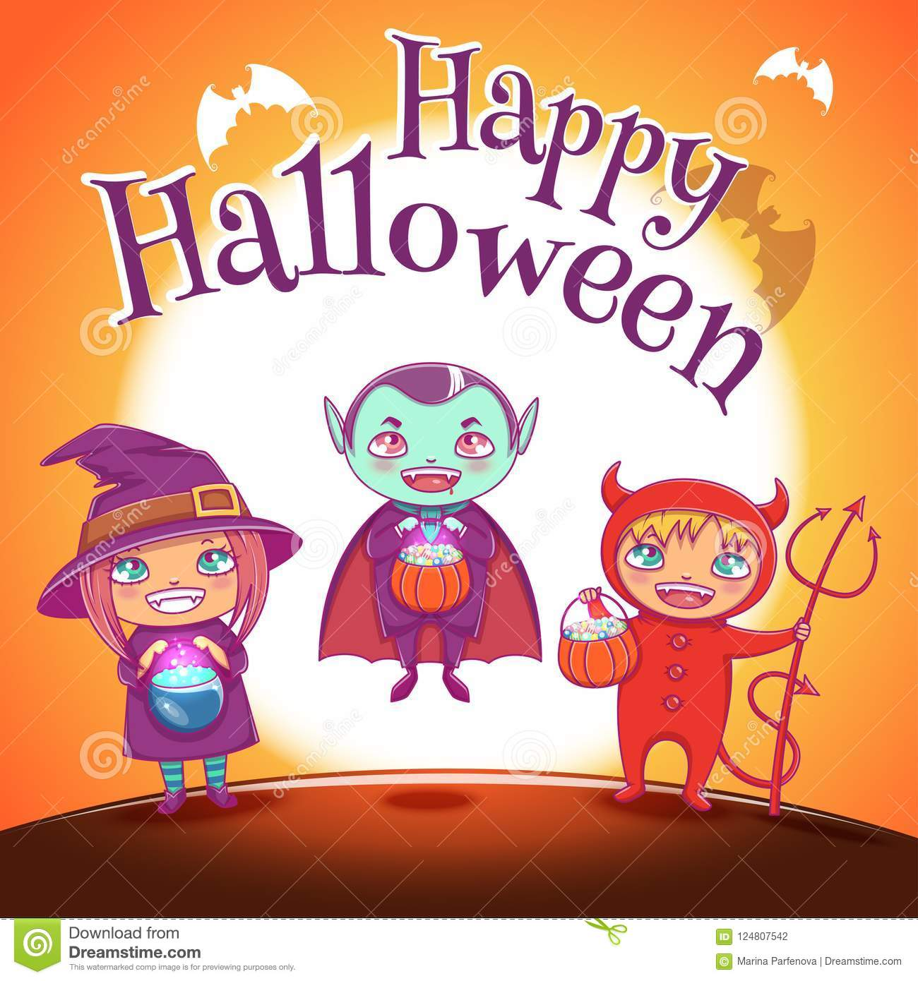 Poster with kids in costumes of witch vampire and devil for happy download poster with kids in costumes of witch vampire and devil for happy halloween party stopboris Choice Image