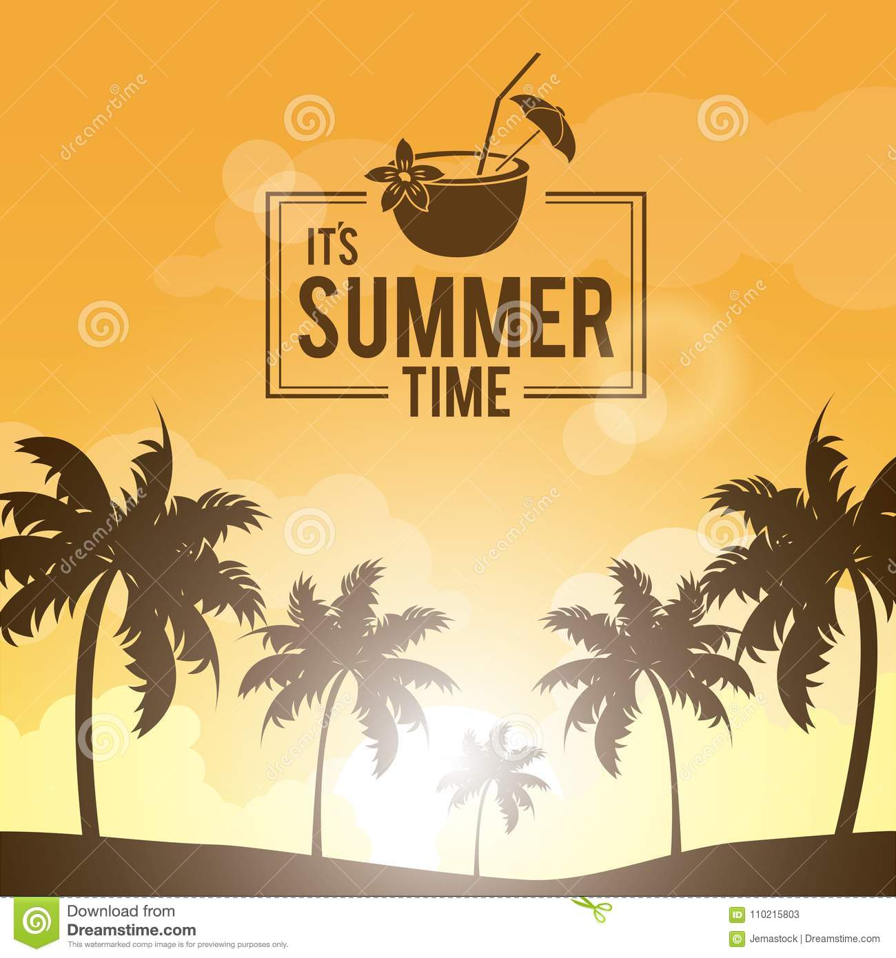 Poster landscape of palm trees on the beach with logo summer time and cocktail coconut