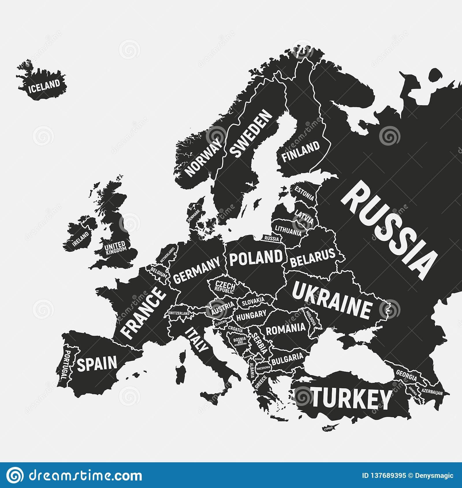 Europe Map. Poster Map Of Europe With Country Names. Europe ...