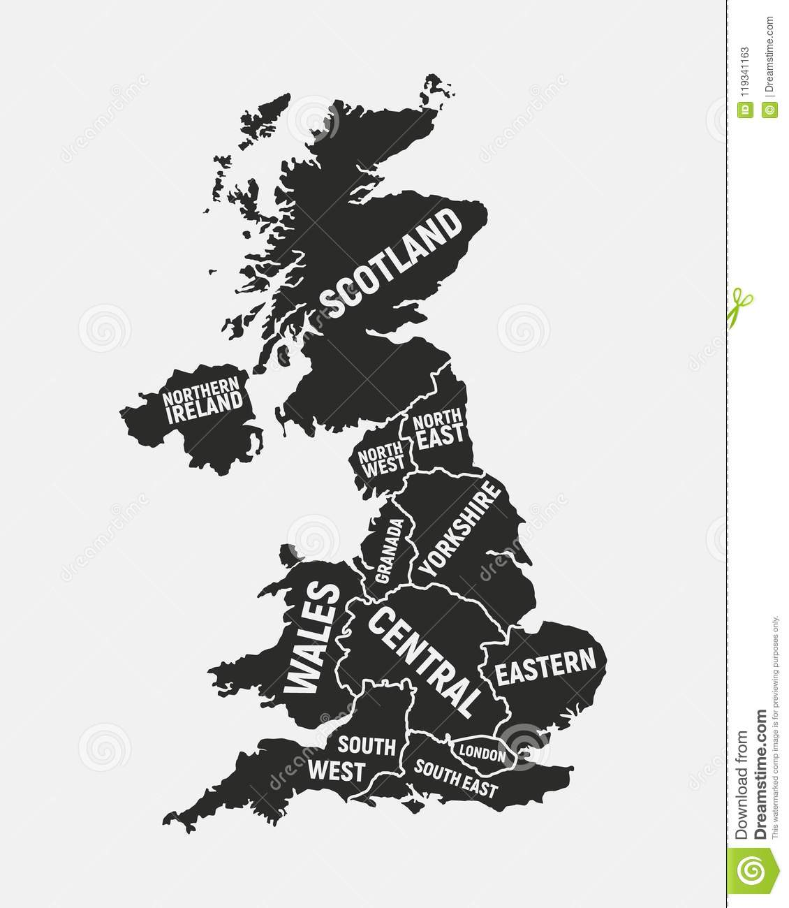United Kingdom Map  Poster Map Of UK With Country And Regions Names