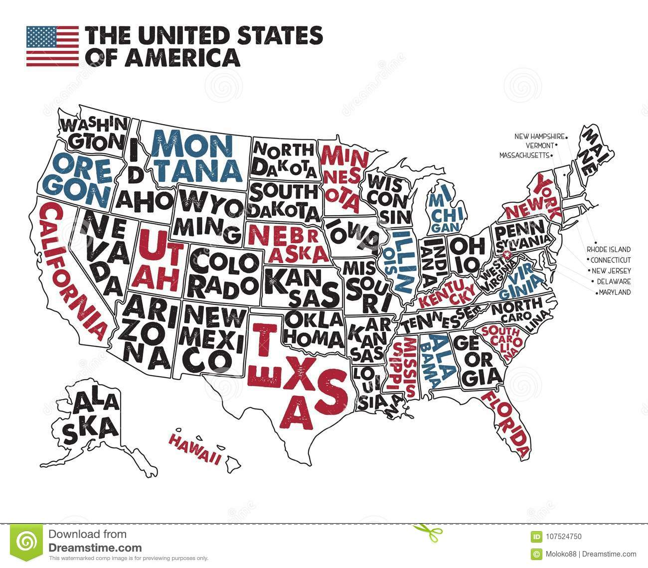 Poster Map Of United States Of America With State Names. Stock ...