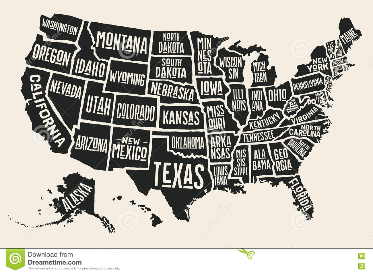 Poster Map United States Of America With State Names Stock Vector
