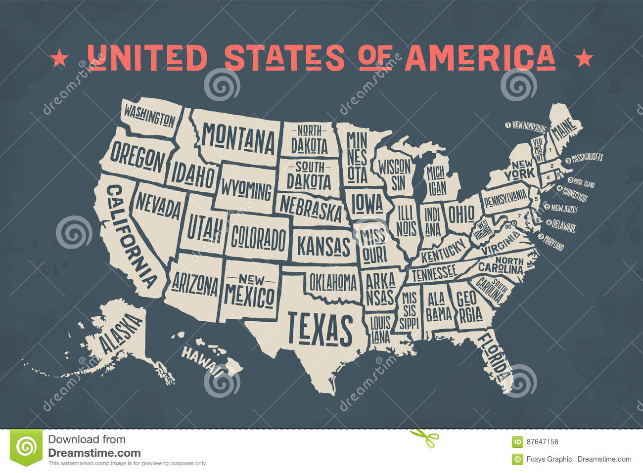 Poster Map United States Of America With State Names Stock Vector - Map of the usa with state names