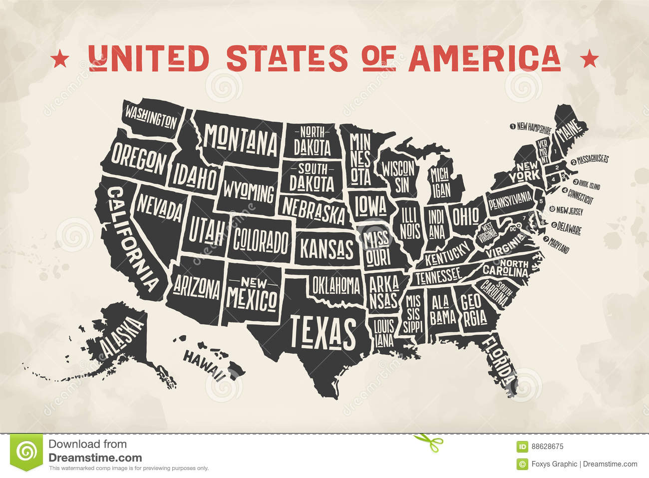 Poster Map United States Of America With State Names Stock Vector ...