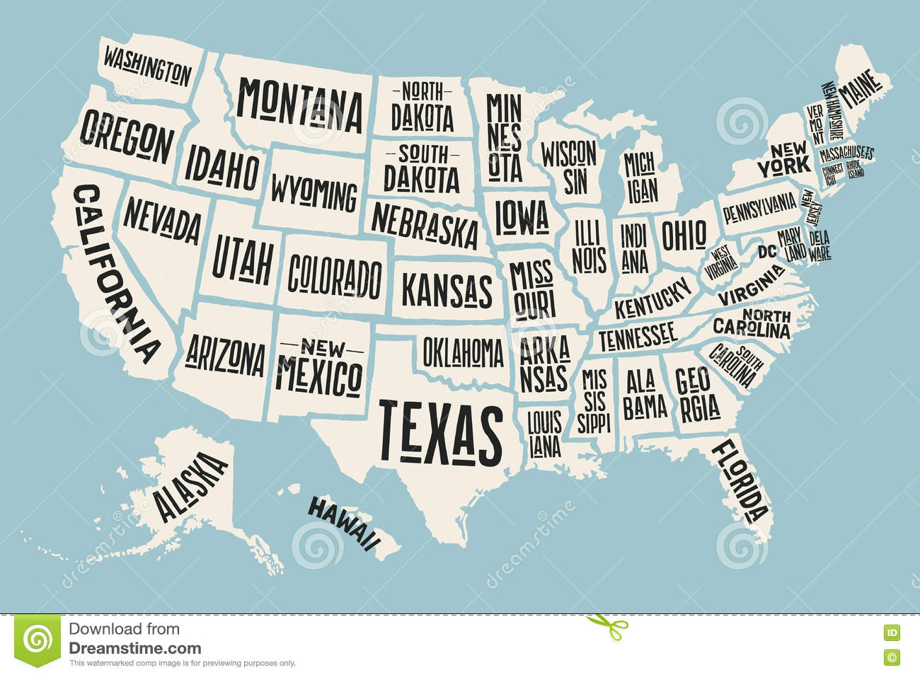 Poster Map United States Of America With State Names Illustration - Map of the usa with state names