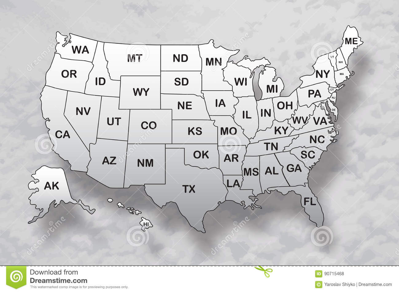 Poster Map Of United States Of America With State Names And Shadow ...