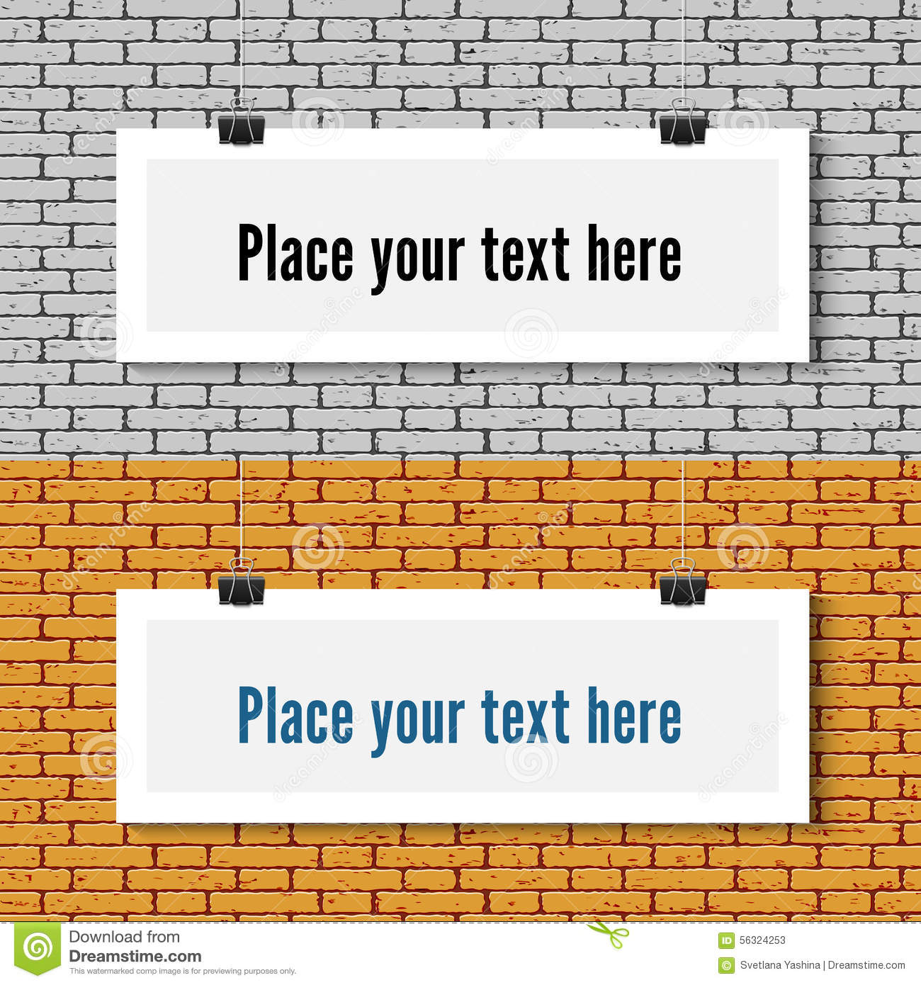 Poster Mock Up On The Brick Wall Vector Image 56324253 – Free White Paper Template