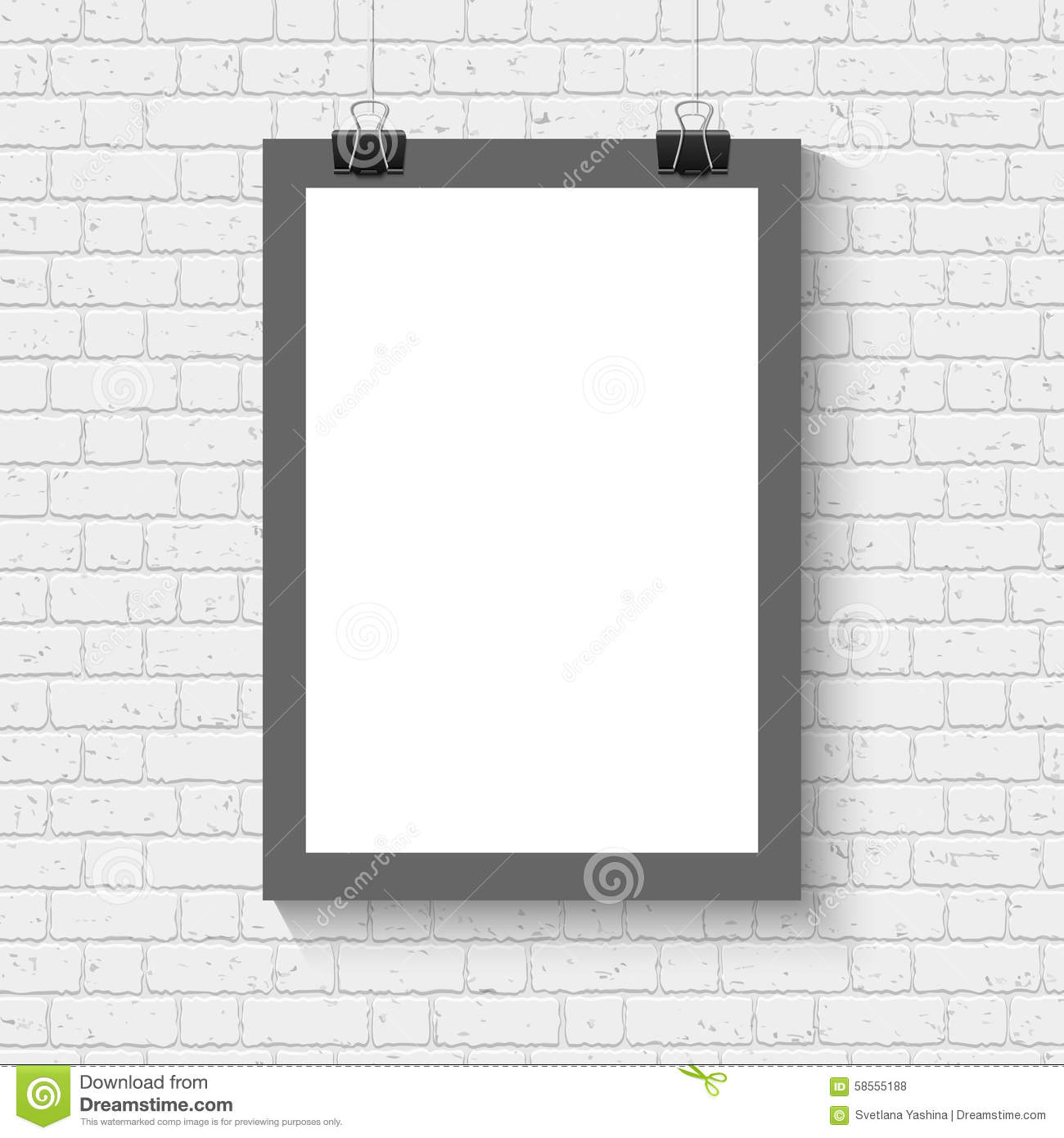 wall templates for hanging pictures - poster mock up on the brick wall stock vector image