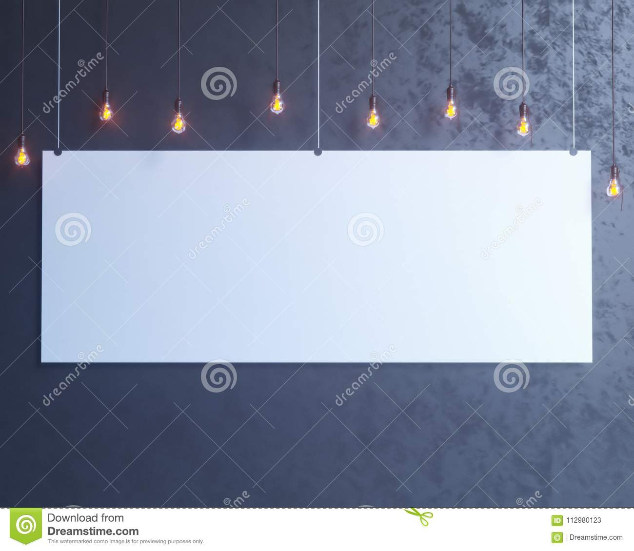 Poster Mock-up, Mock-up Template On Isolated White Background, Ready For Your Design, 3D Illustration.