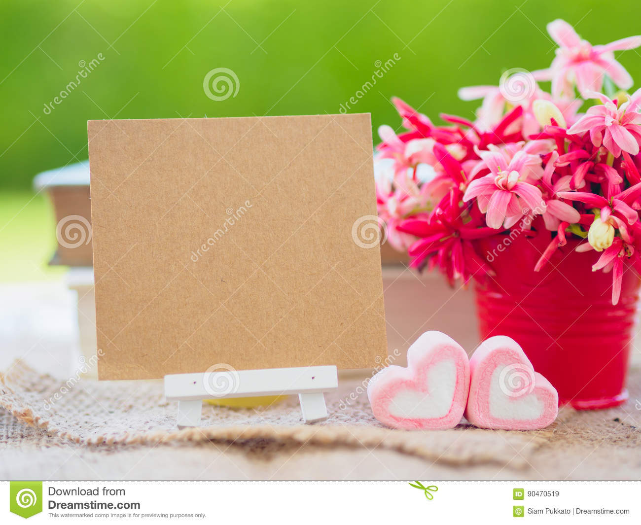 Poster Mock Up Template With Flower Bouquet, Stock Image - Image of ...