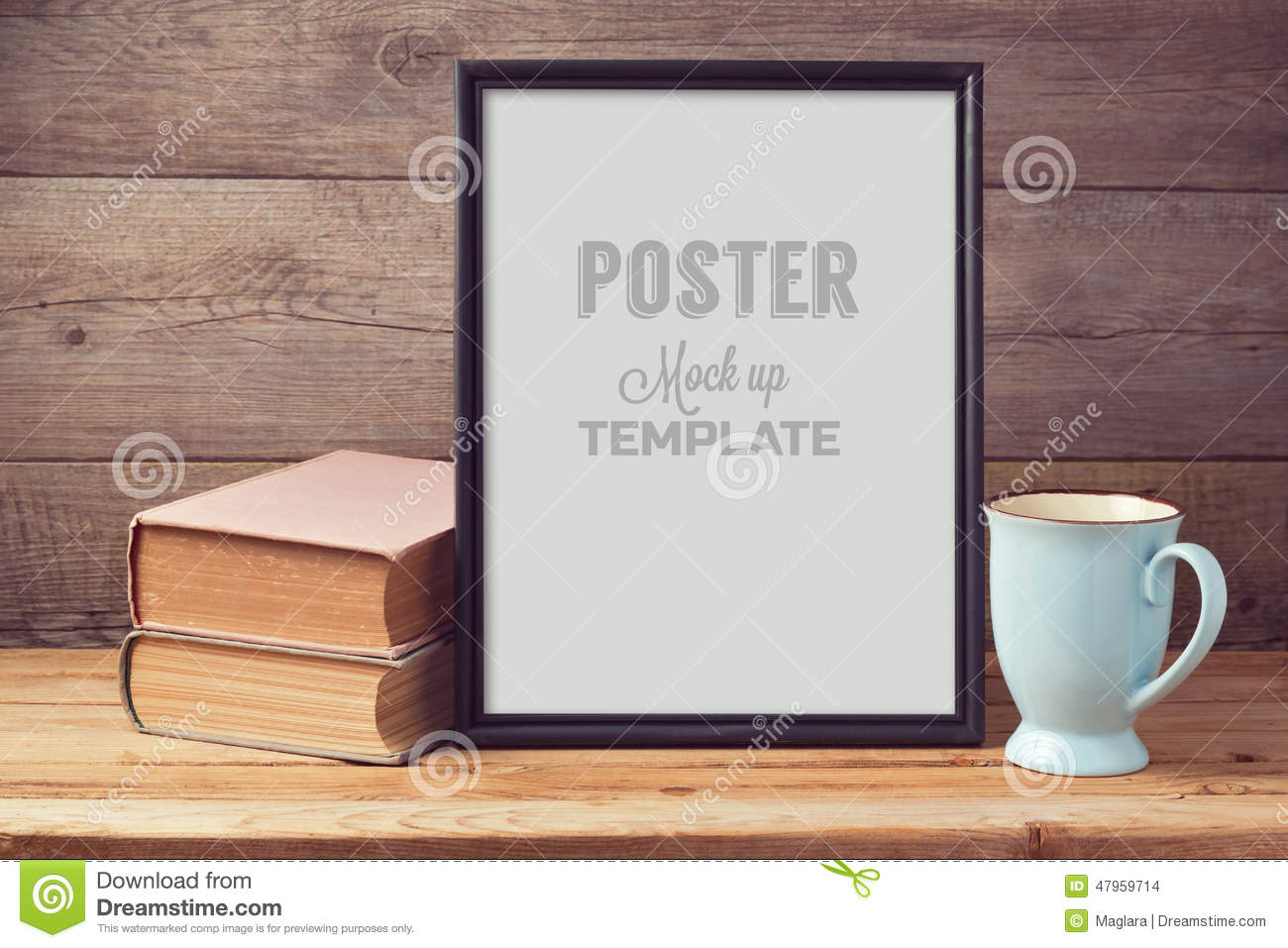 Poster mock up template with old books and coffee cup
