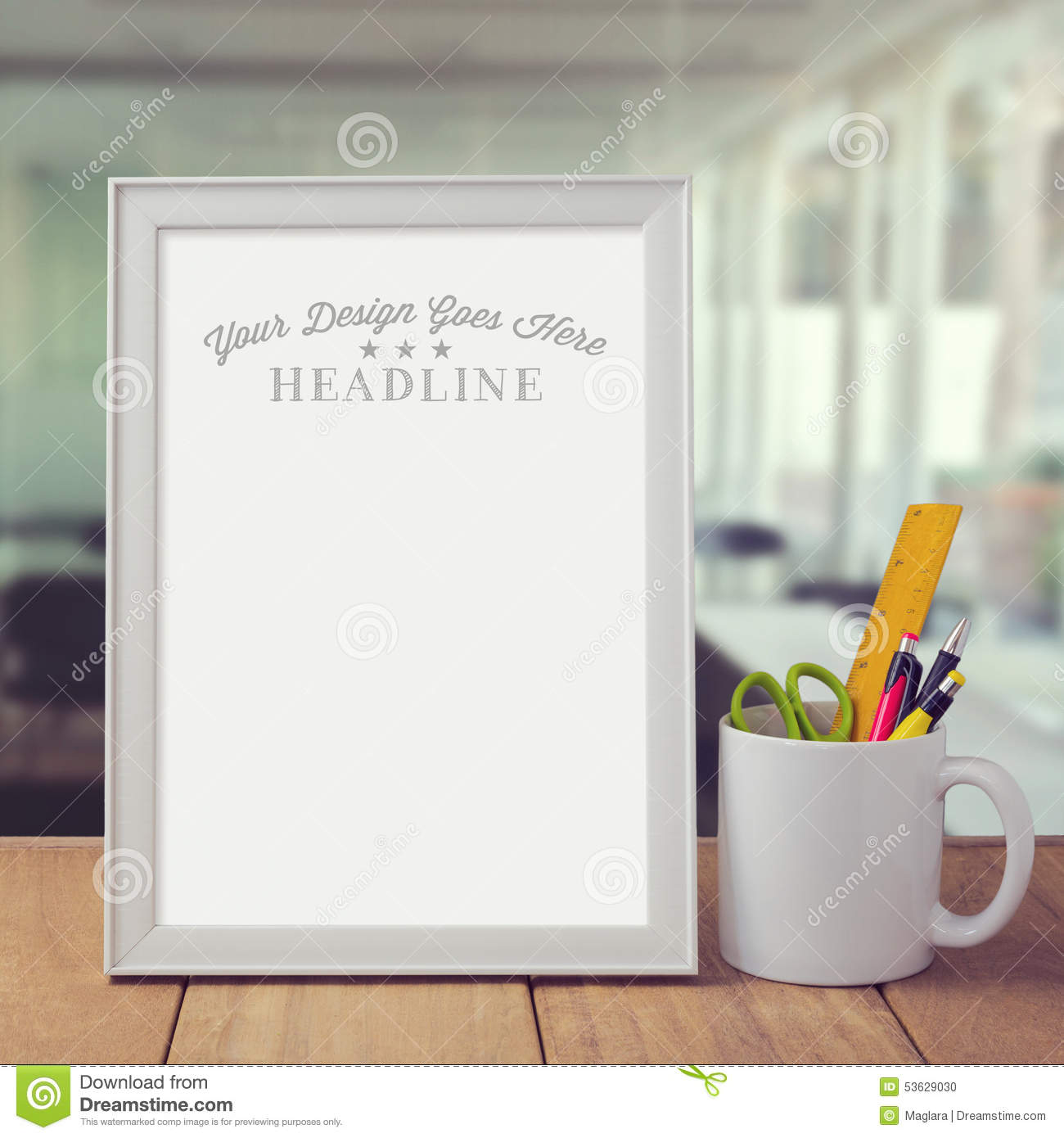 Poster Mock Up Template Over Office Background Stock Photo - Image ...