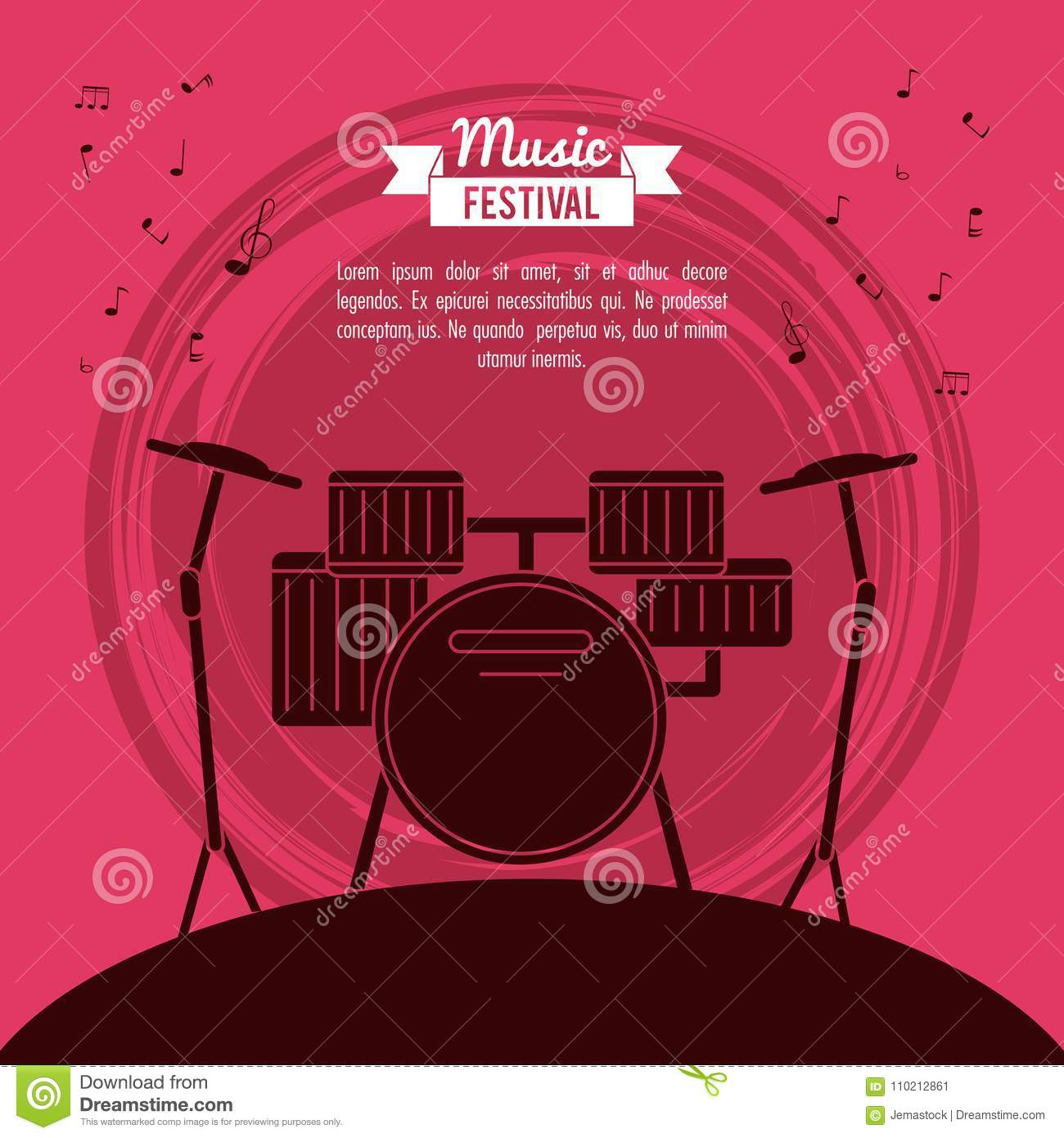 Poster Music Festival In Magenta Background With Battery Instrument