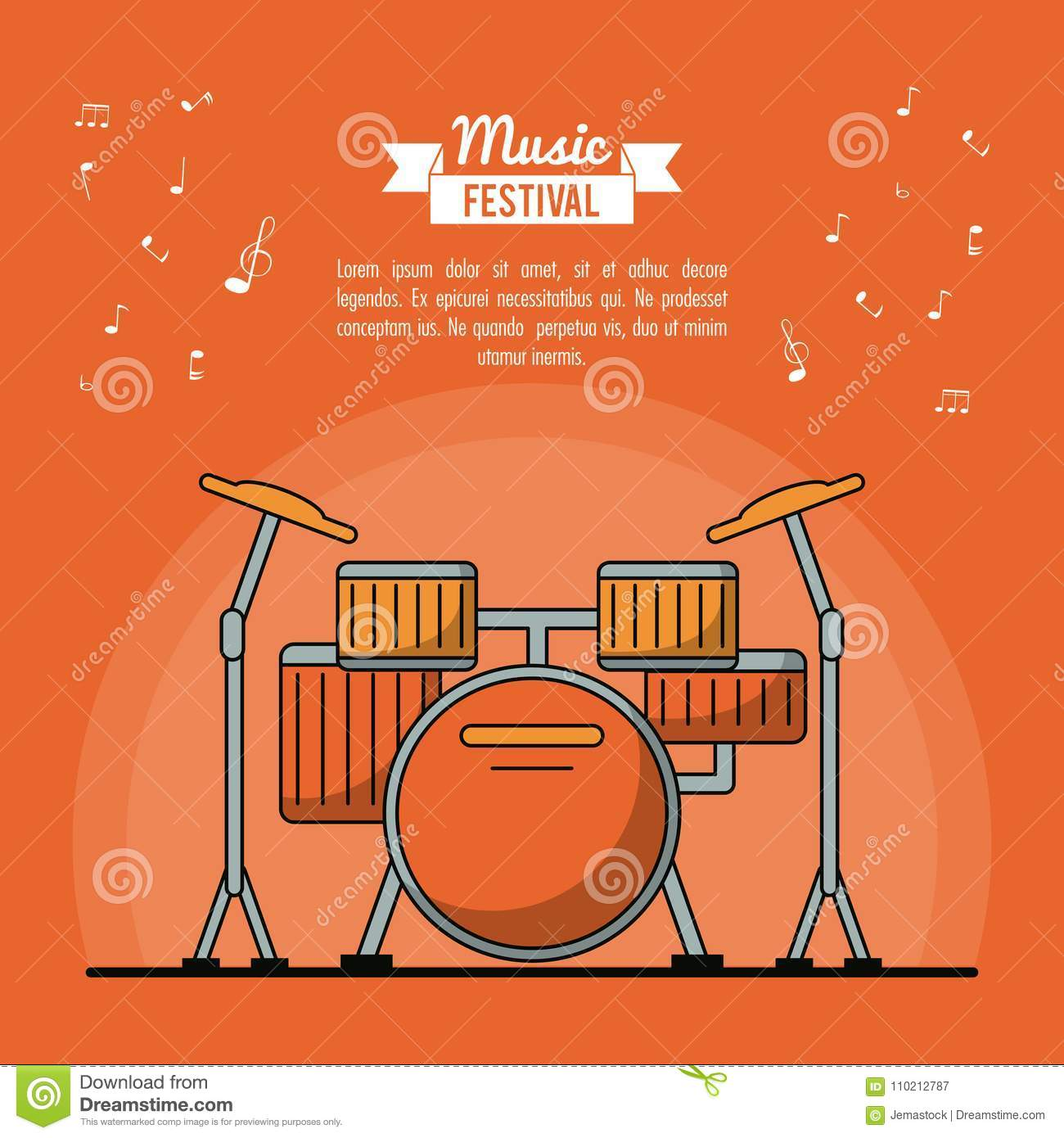 Poster Music Festival In Orange Background With Battery Instrument