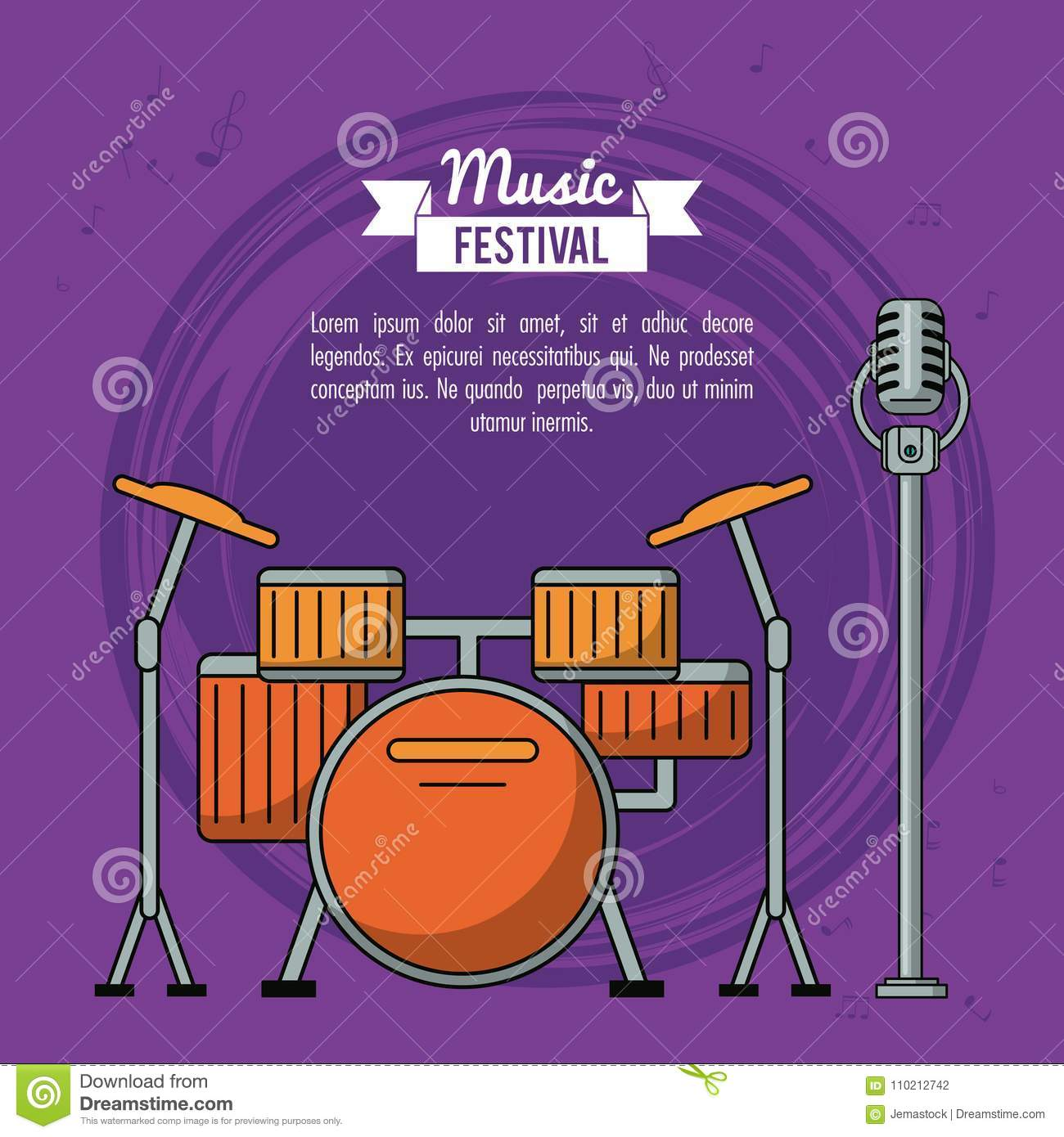 Poster Music Festival In Purple Background With Battery And