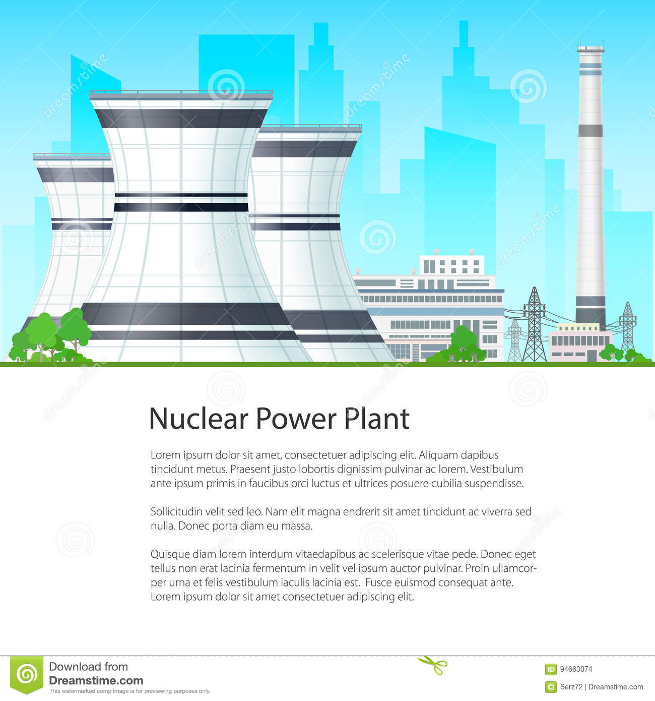 Poster Nuclear Power Plant Stock Vector Illustration Of With Diagram Download 94663074