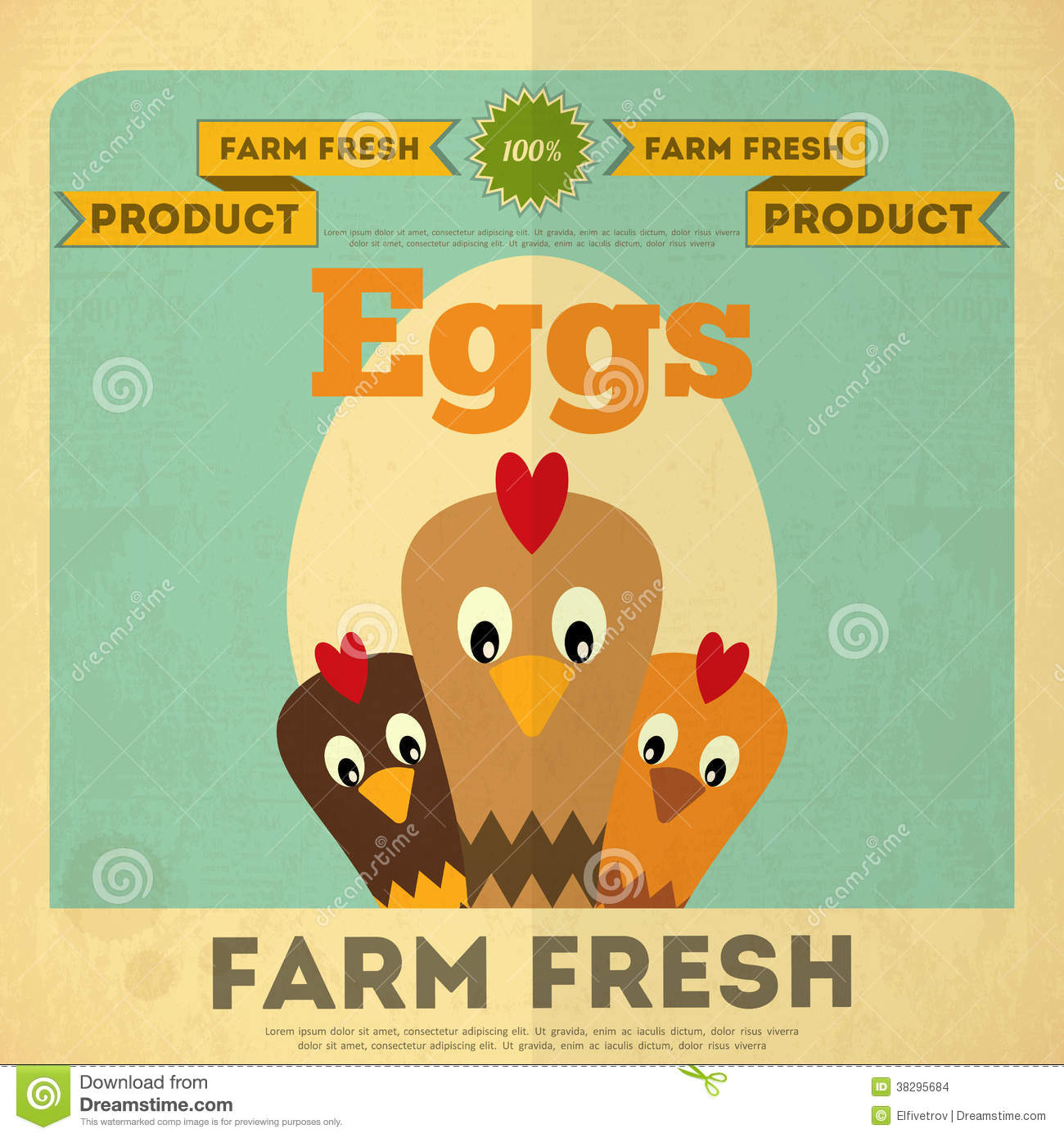 Poster For Organic Farm Food Stock Vector - Image: 38295684