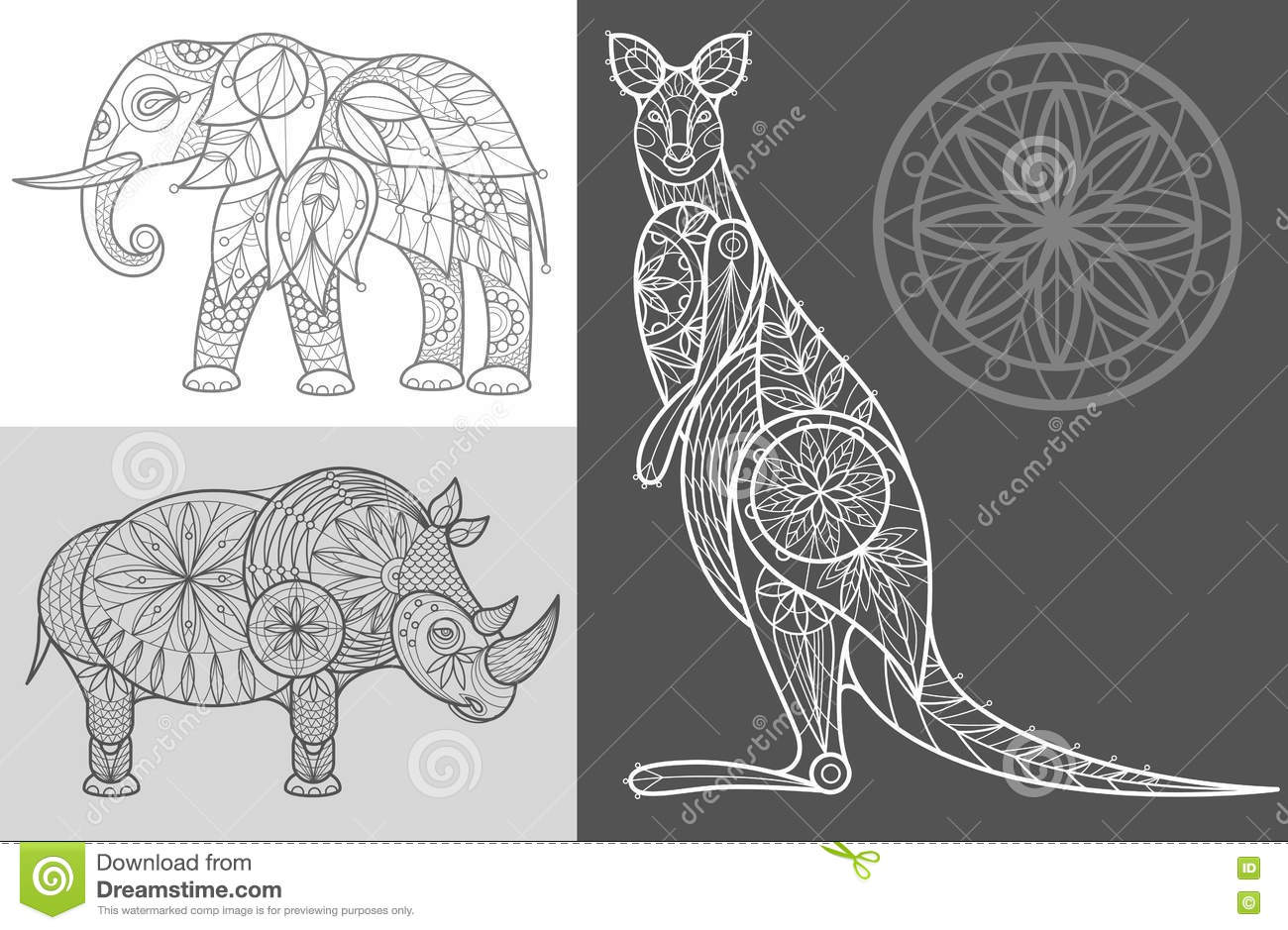 Vector Line Art Animals : Poster with ornamental animals stock vector illustration of