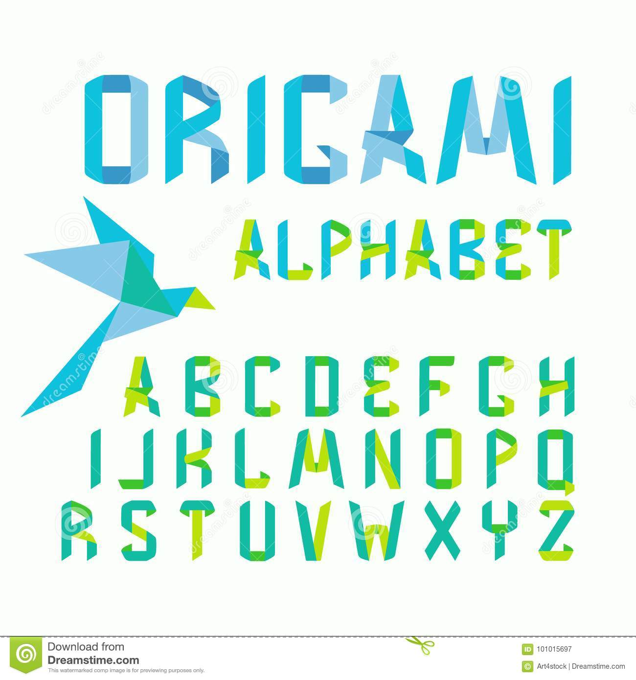 Origami Font Alphabet With Paper Royalty Free Vector Download