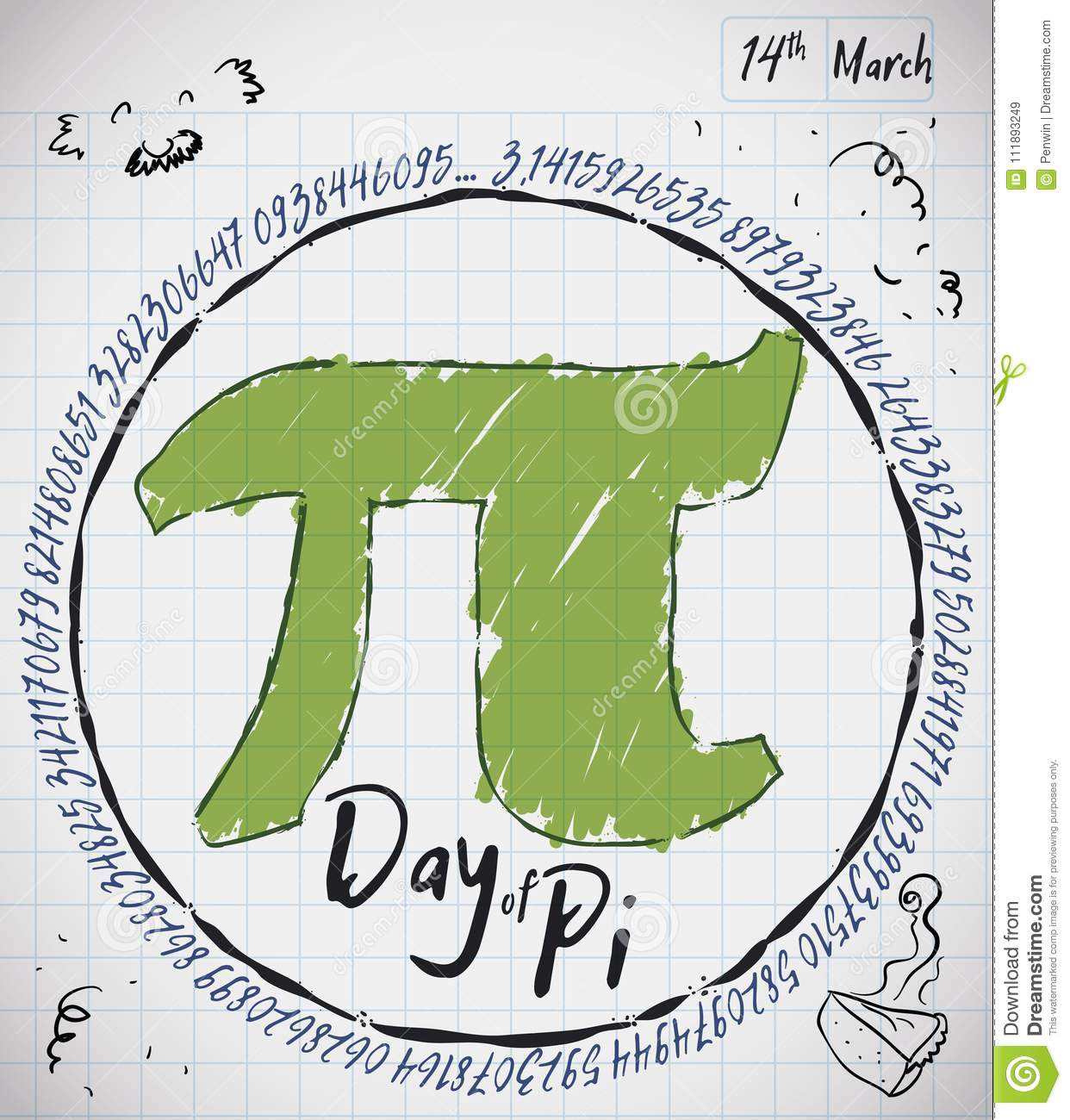 Notebook Paper With Doodles Pie And Pi Symbol For Pi Day Vector