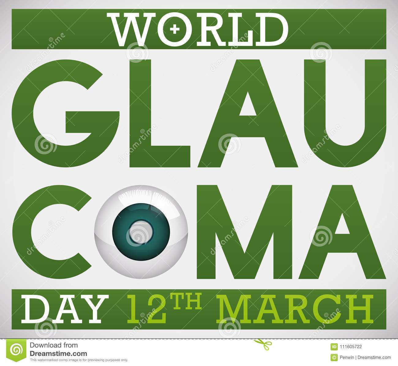 Design for World Glaucoma Day Promoting Awareness with Sick Eye, Vector Illustration