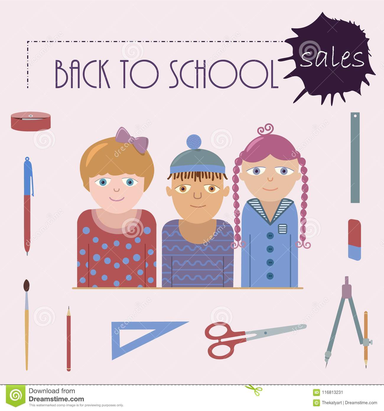 Poster representing back to school sales.