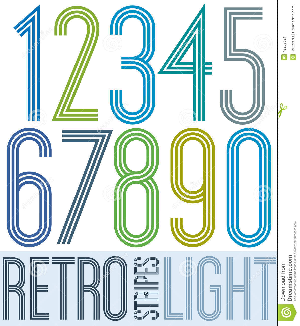 Poster Retro Light Colorful Numbers With Stripes On White ...