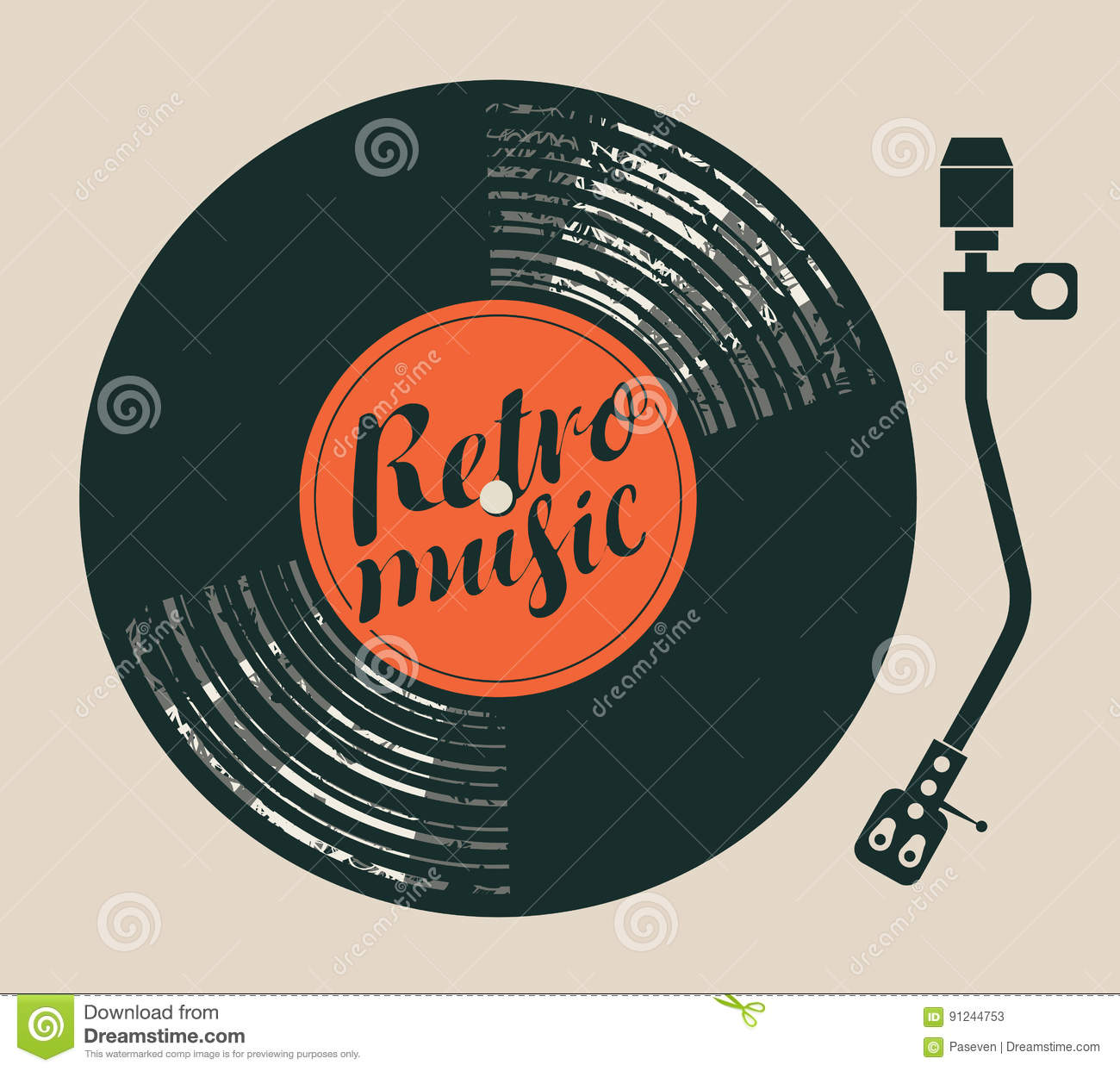 Poster Retro Music With Vinyl Record And Player Stock