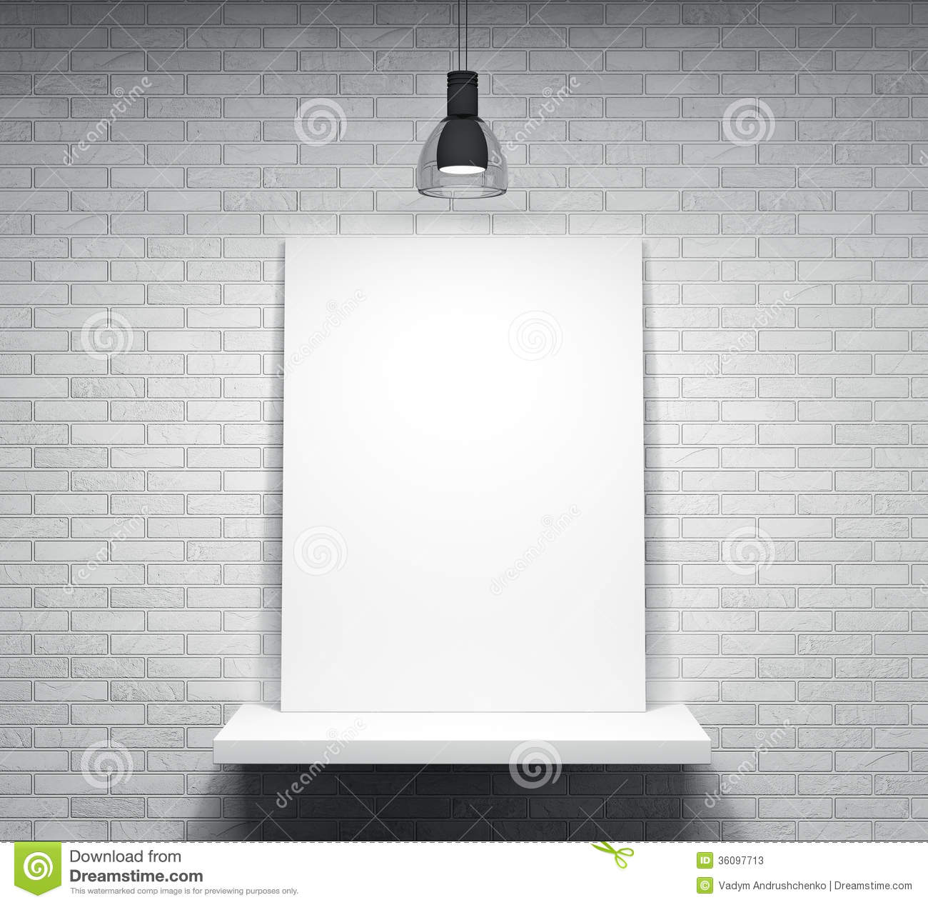 Poster On The Shelf Over Brick Wall Stock Photos