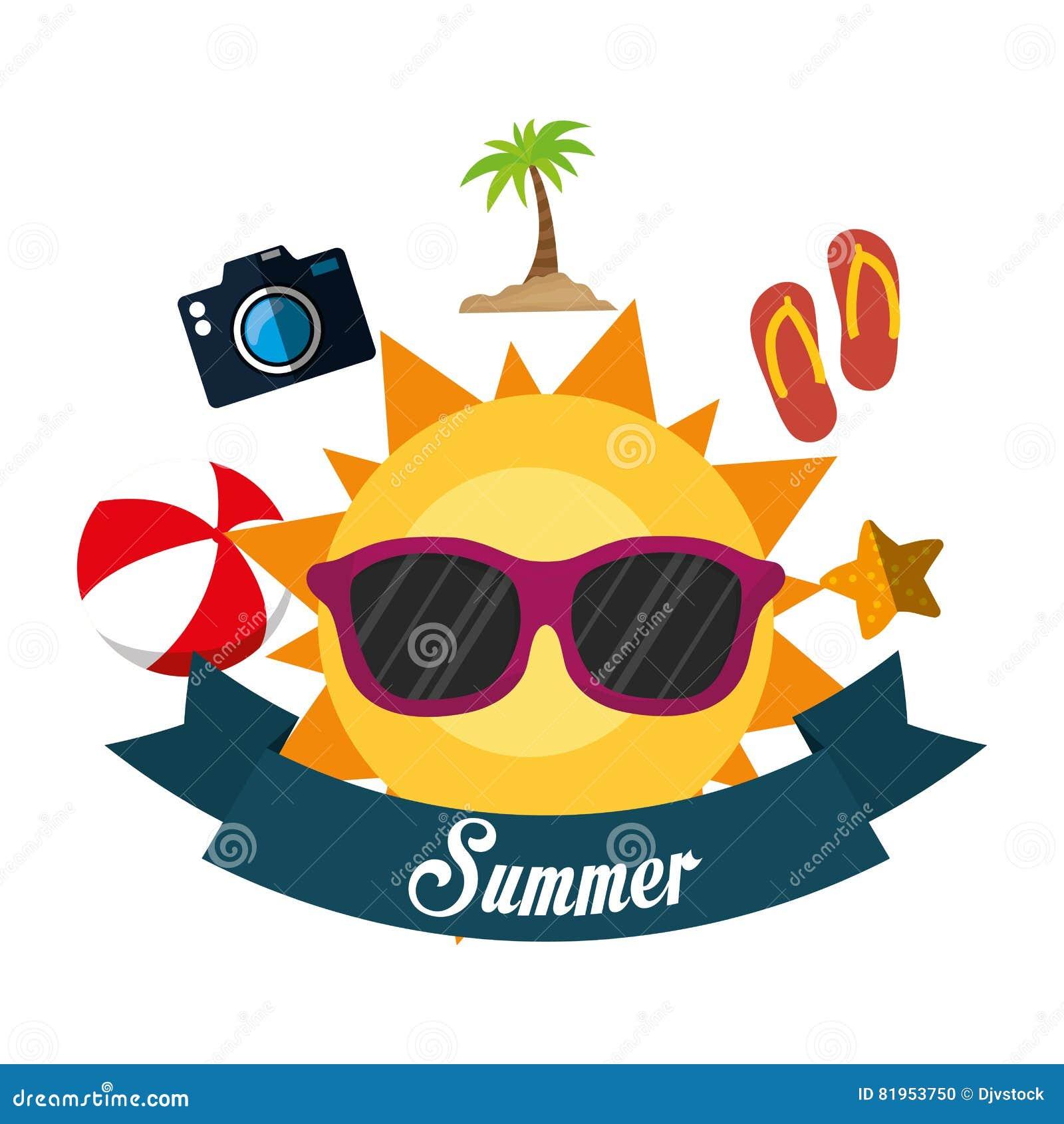 poster summer fun sun glasses ball flip flop camera banner