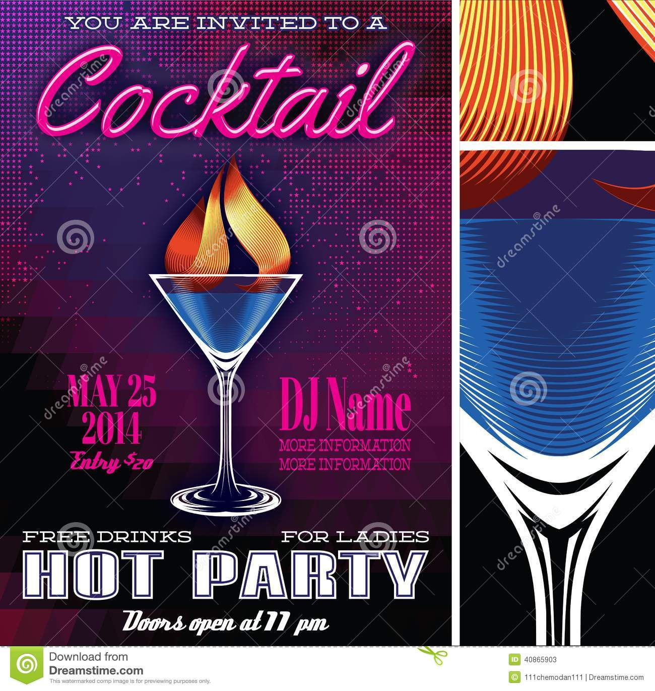 poster template for the cocktail party stock vector