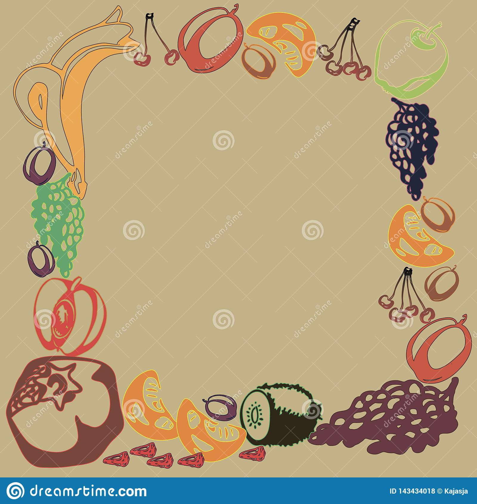 Poster template with hand drawn fruits and berries for farmers market menu design