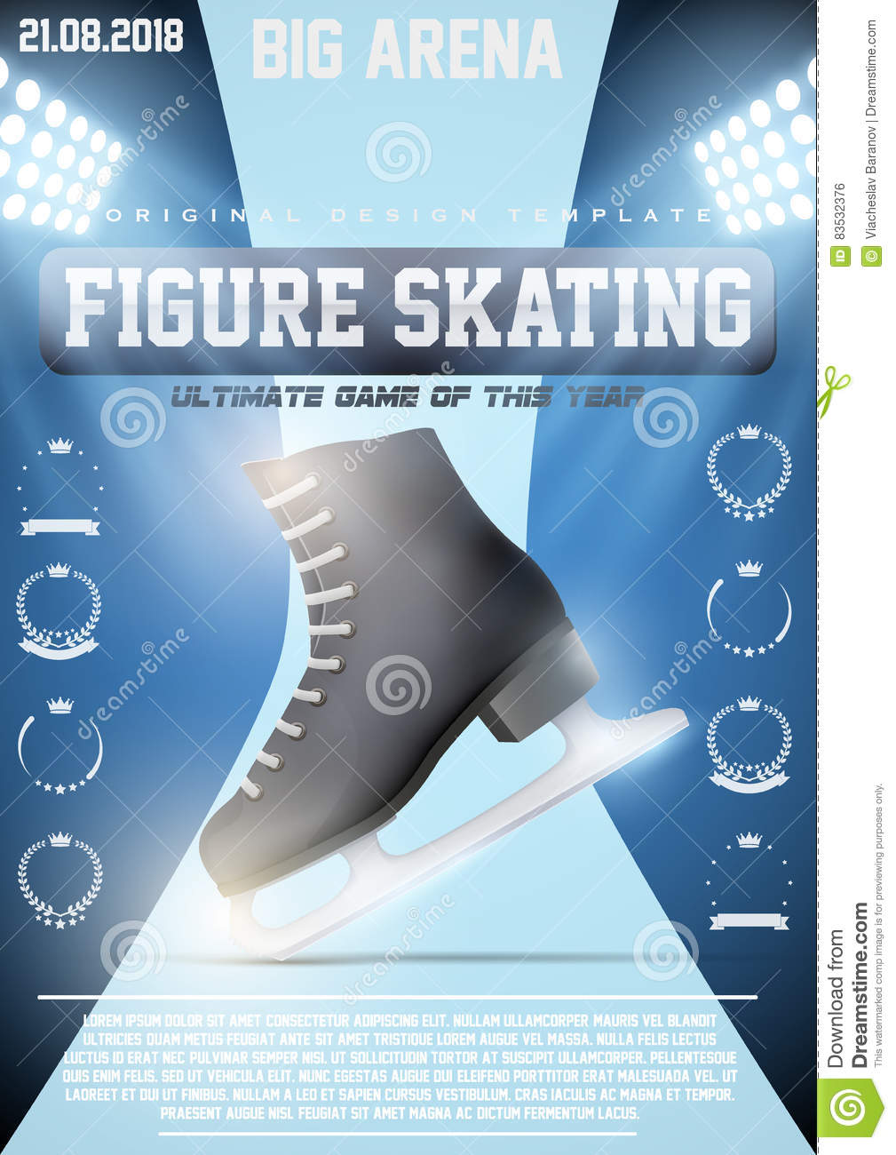poster template of ice figure skating stock vector