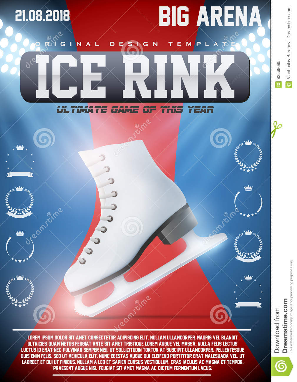 poster template of ice skating rink stock vector illustration of