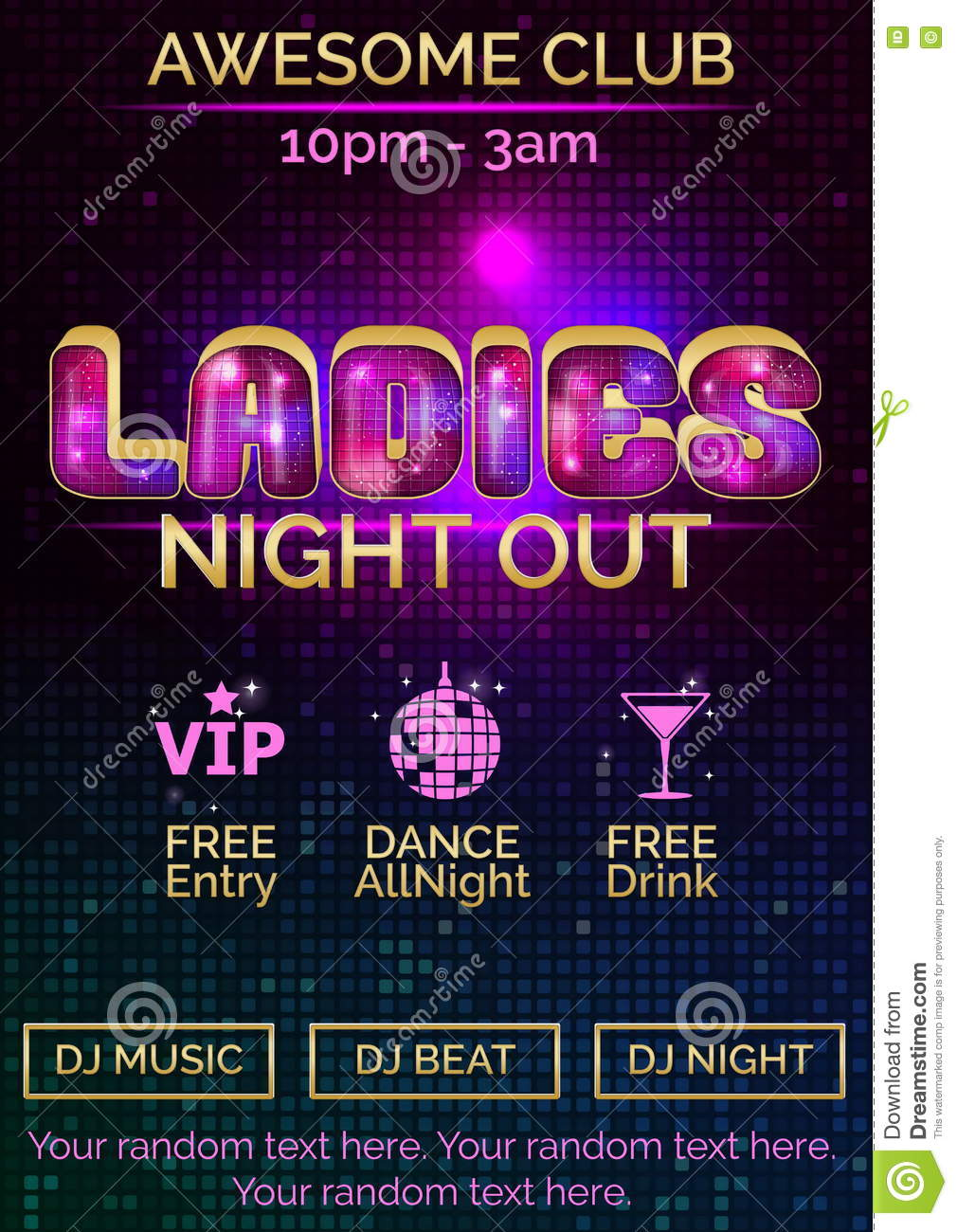 poster template for ladies night out stock vector illustration of