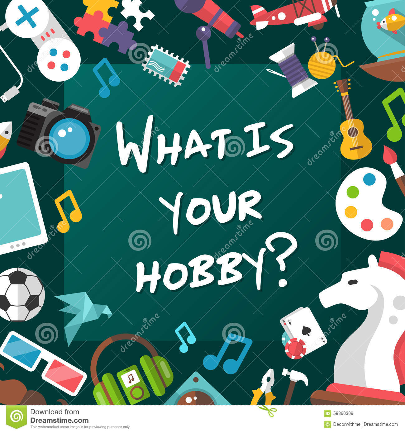 Poster Template Of Modern Flat Design Hobby Icons Stock ...