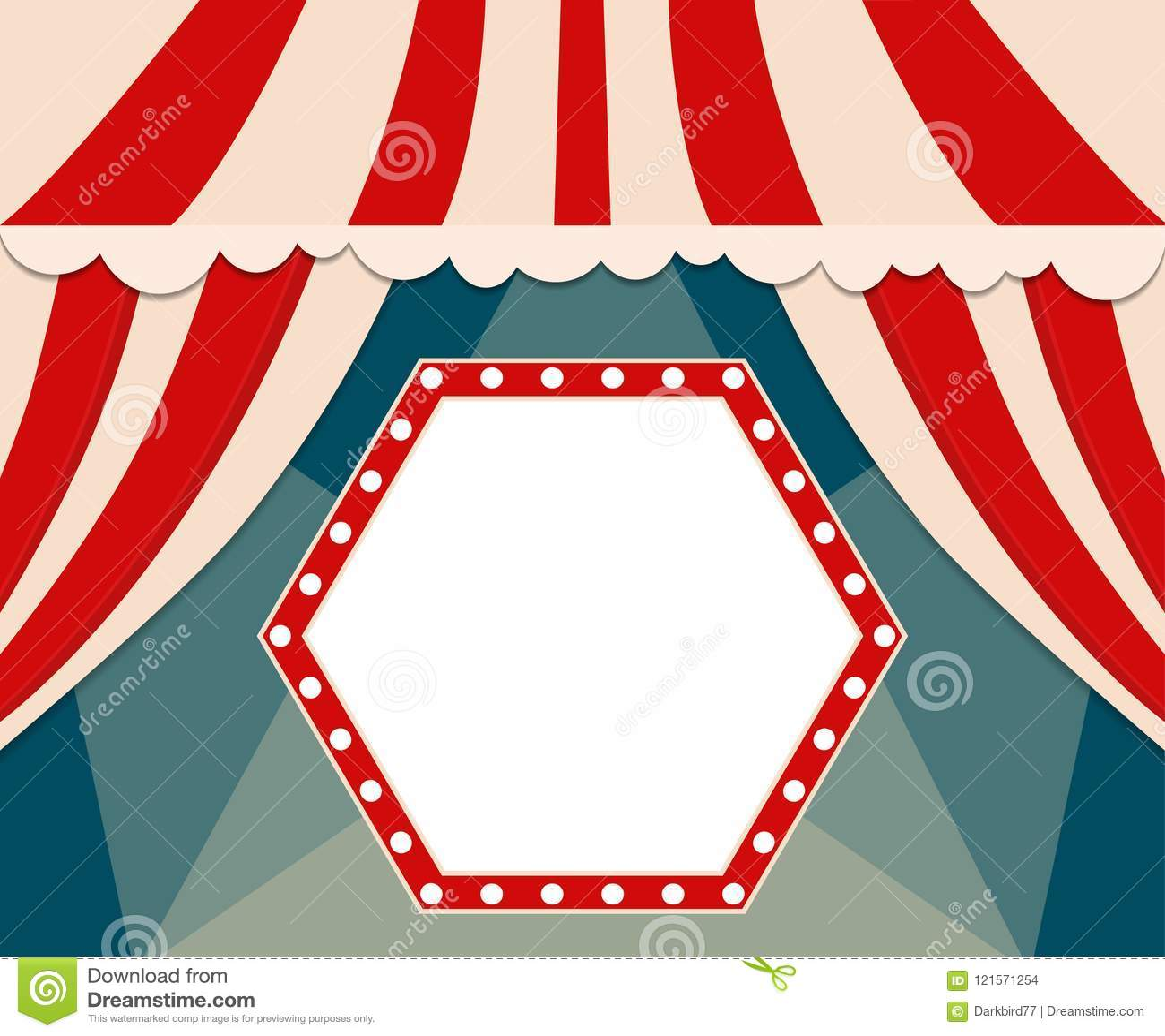 Poster Template With Retro Circus Banner Design For Presentatio