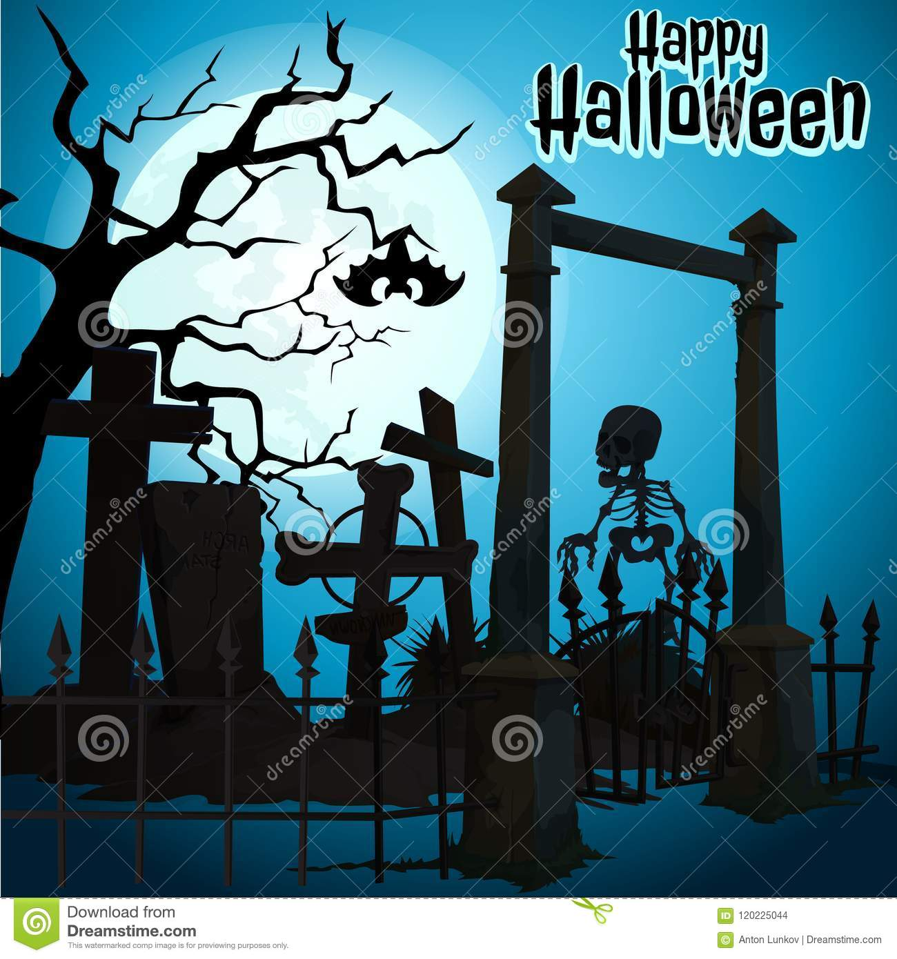 A poster on the theme of the Halloween holiday. Undead skeleton leaves abandoned cemetery. Vector illustration.