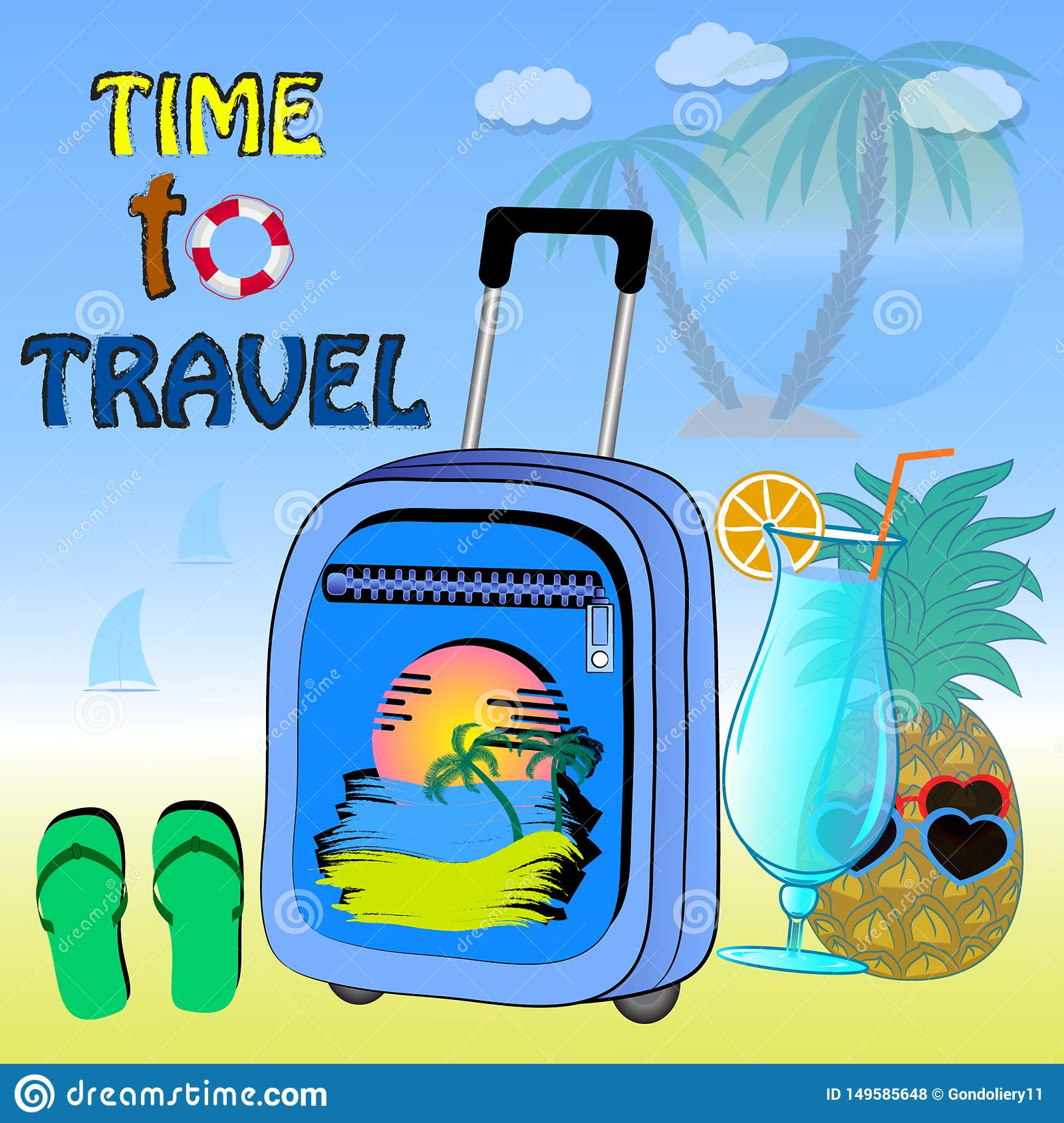 Poster time to travel vector illustration.
