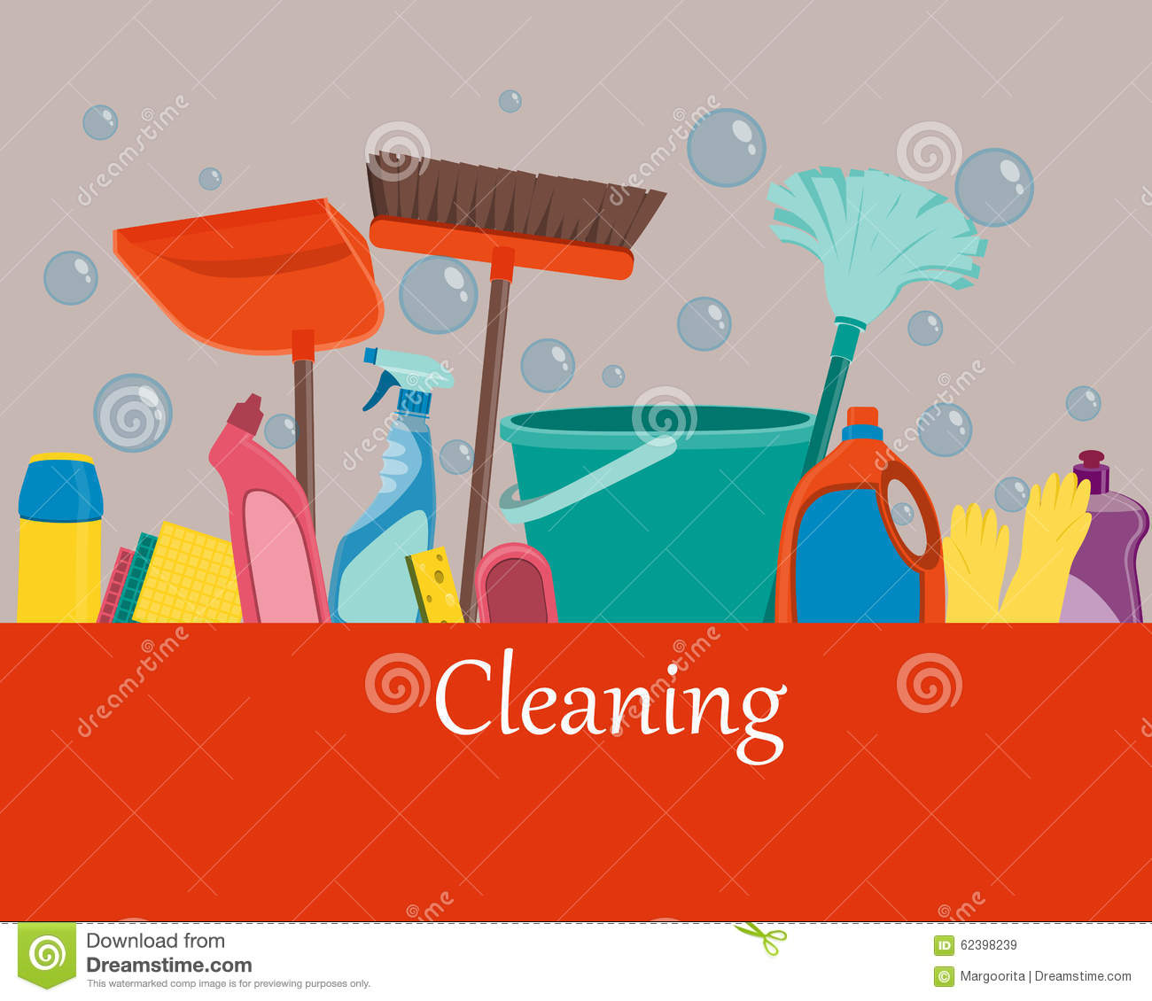 Poster Tools For Cleaning Stock Vector Image 62398239