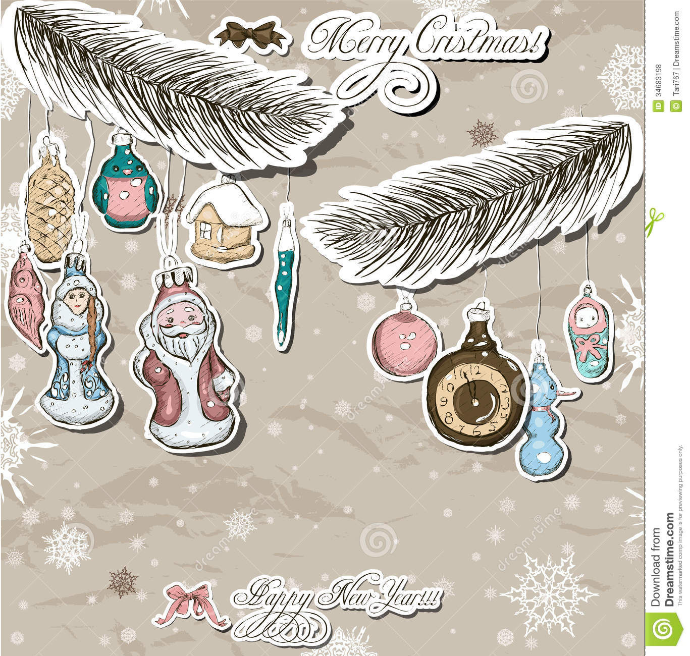 Poster with vintage christmas decorations royalty free for Poster decoratif