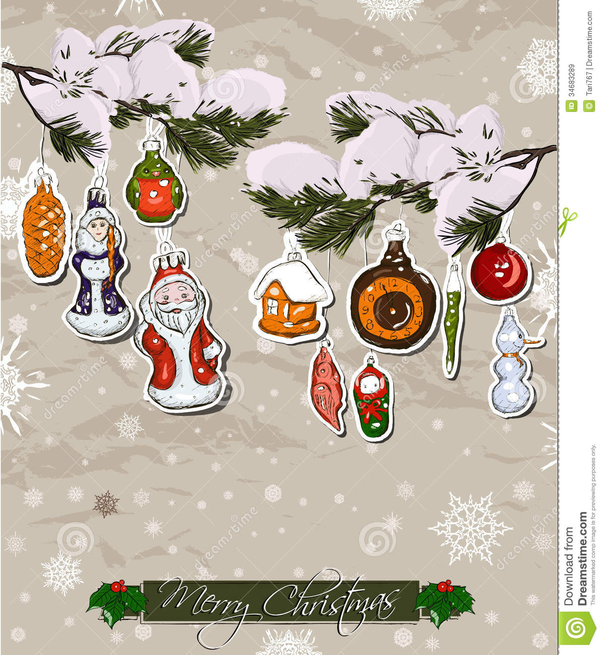 poster with vintage christmas decorations stock vector image 34683289. Black Bedroom Furniture Sets. Home Design Ideas