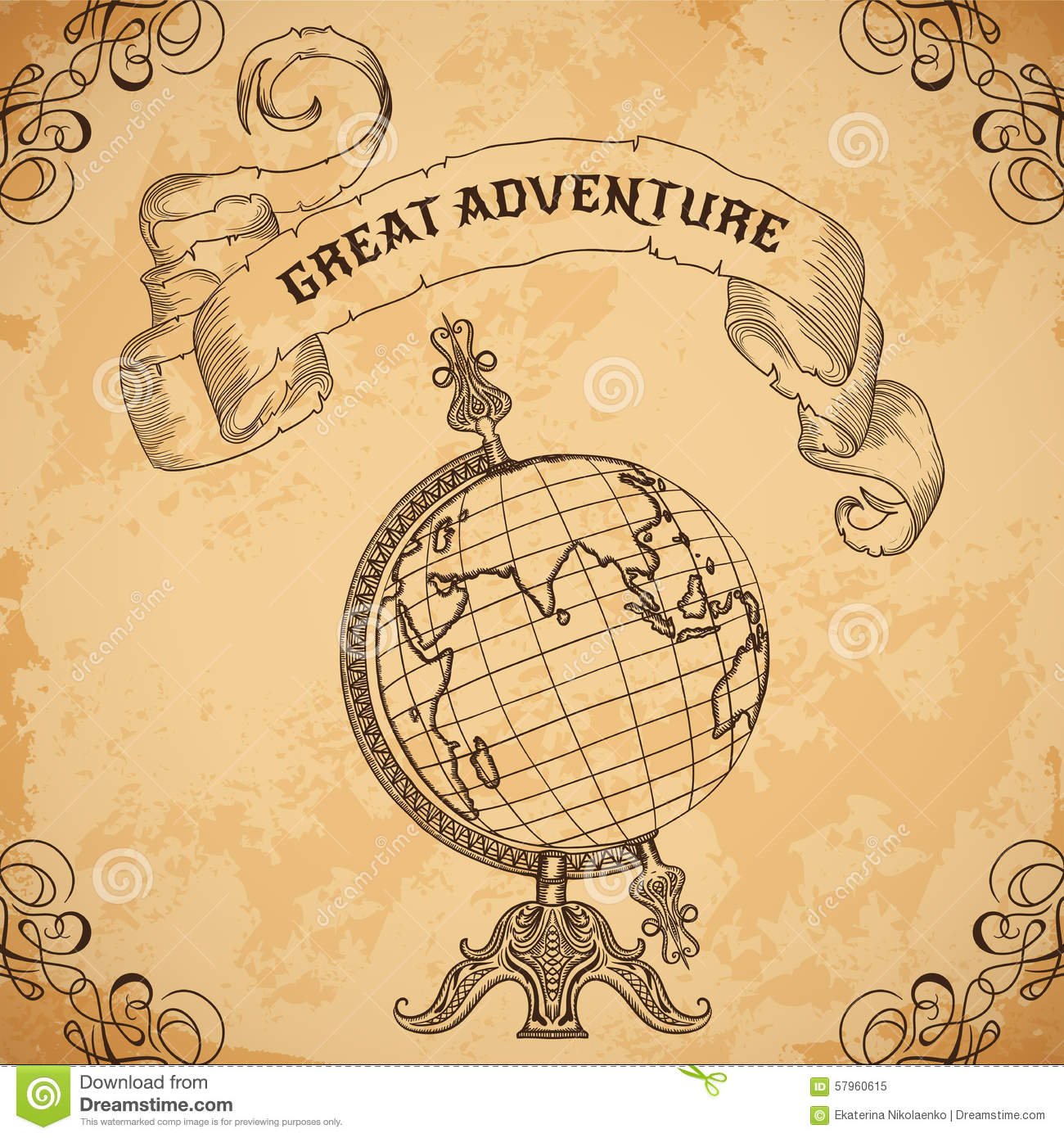 poster with vintage globe and ribbon retro hand drawn vector illustration great adventure stock. Black Bedroom Furniture Sets. Home Design Ideas
